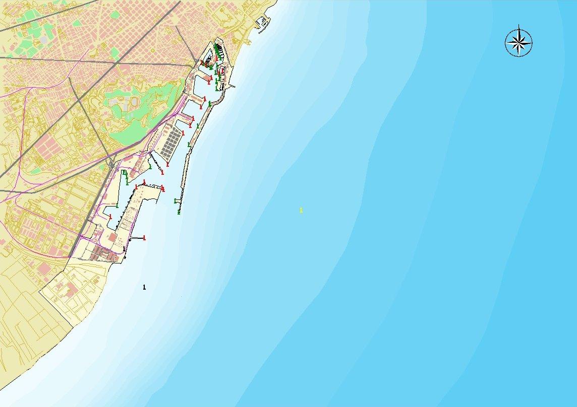 Mapa del puerto de Barcelona