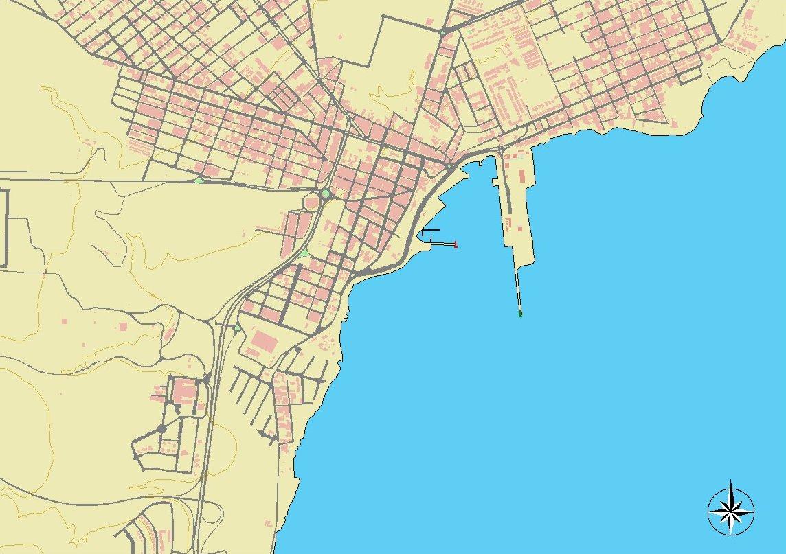 Mapa del puerto del Rosario