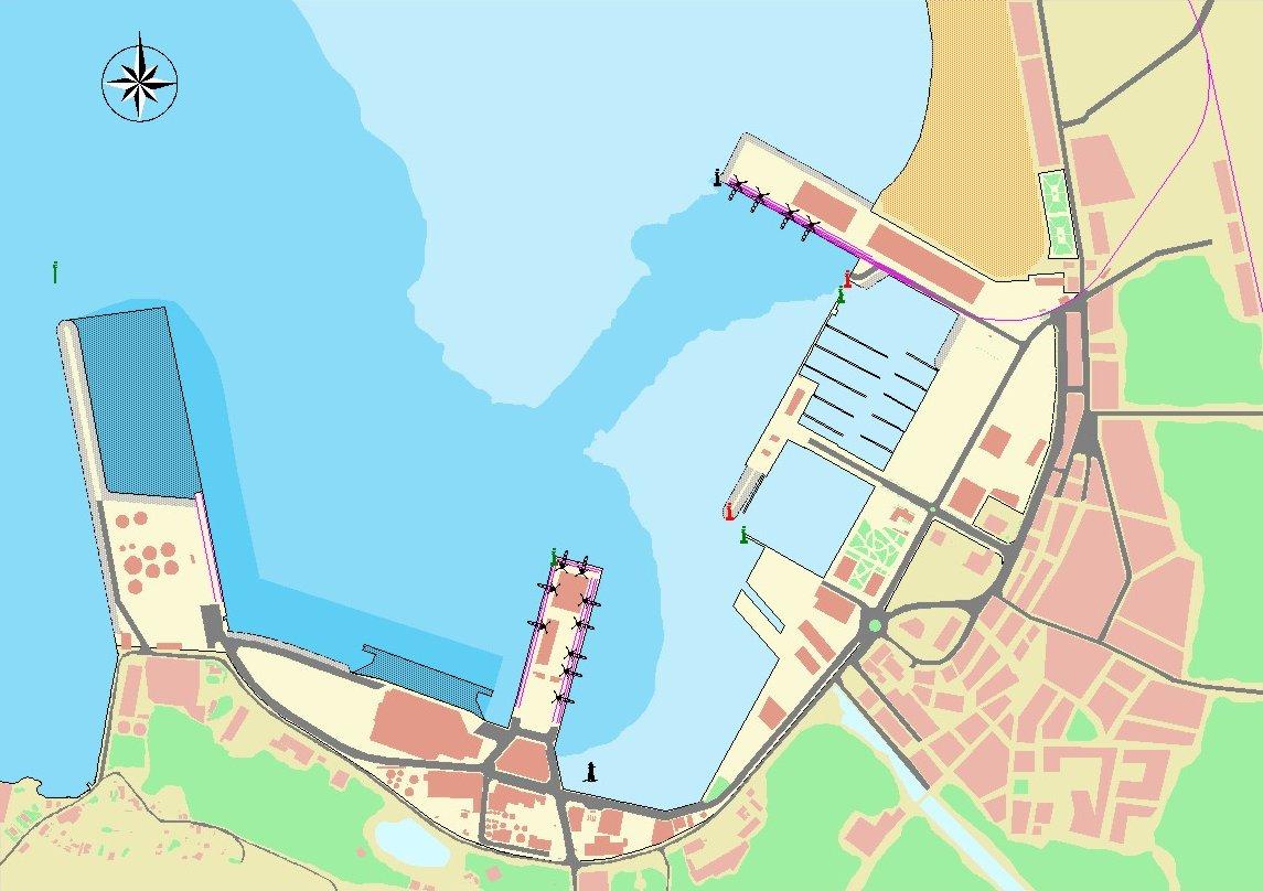 Mapa del puerto de Villagarcía de Arosa