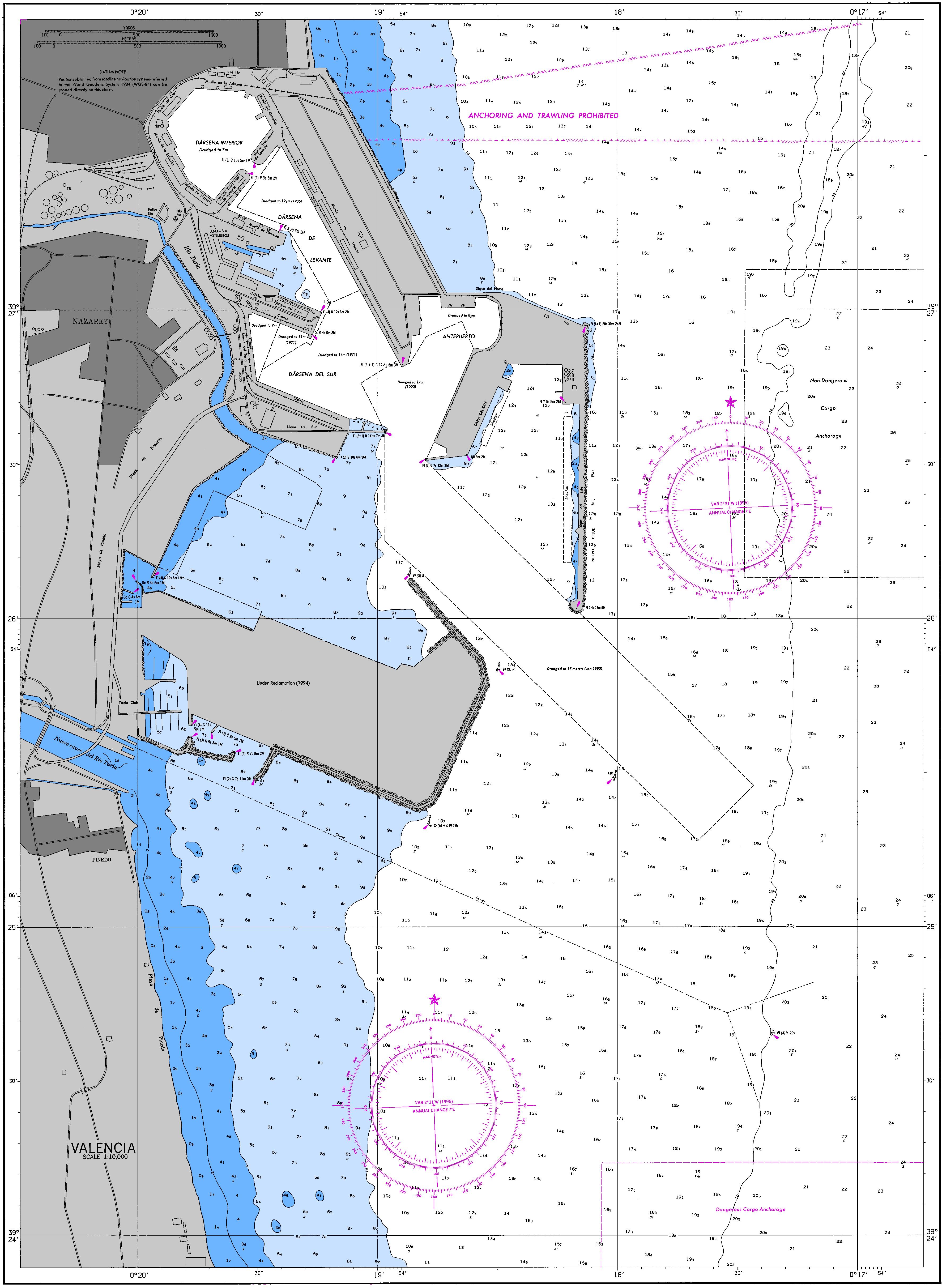 Carta náutica del Puerto de Valencia