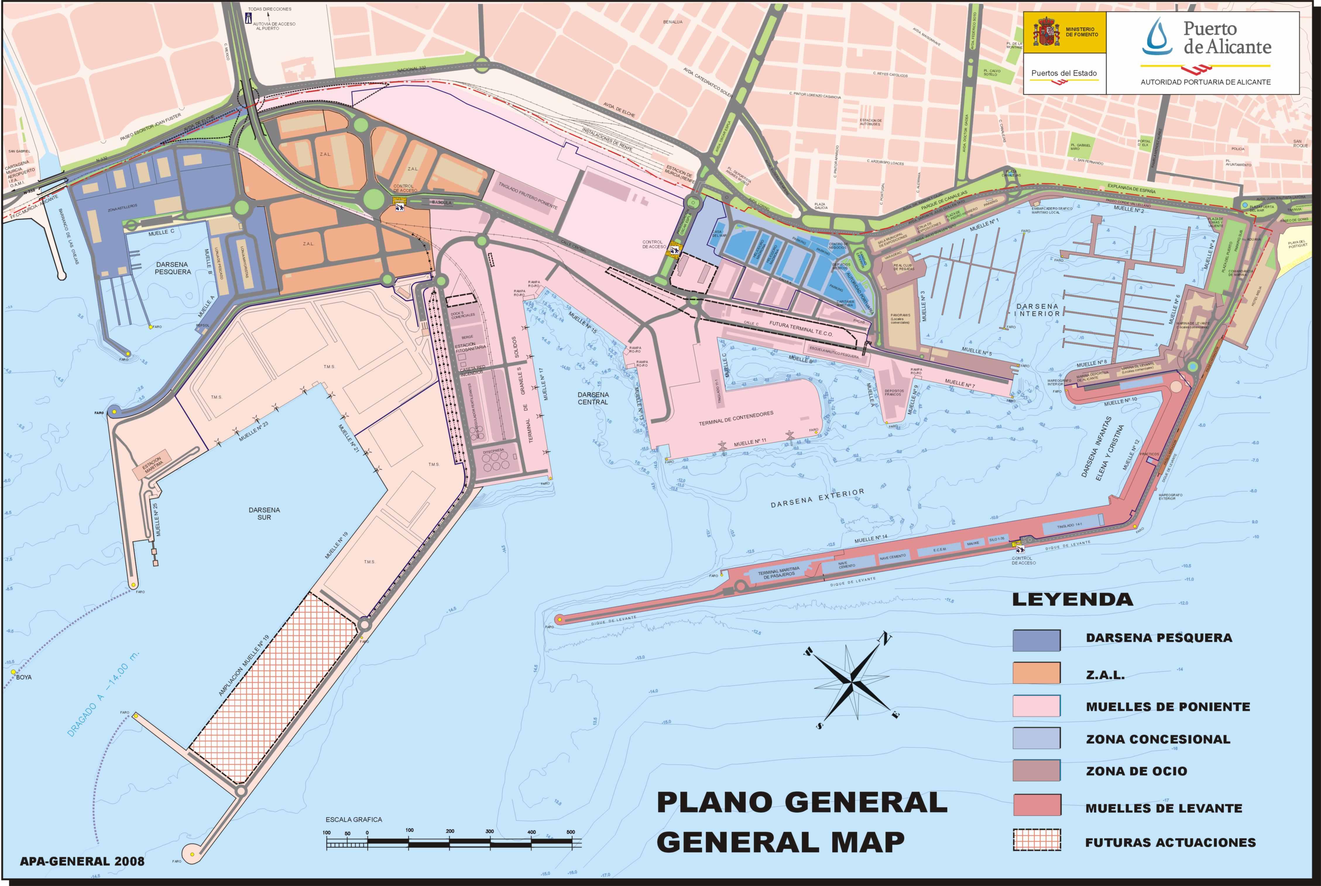 Alicante port map 2008