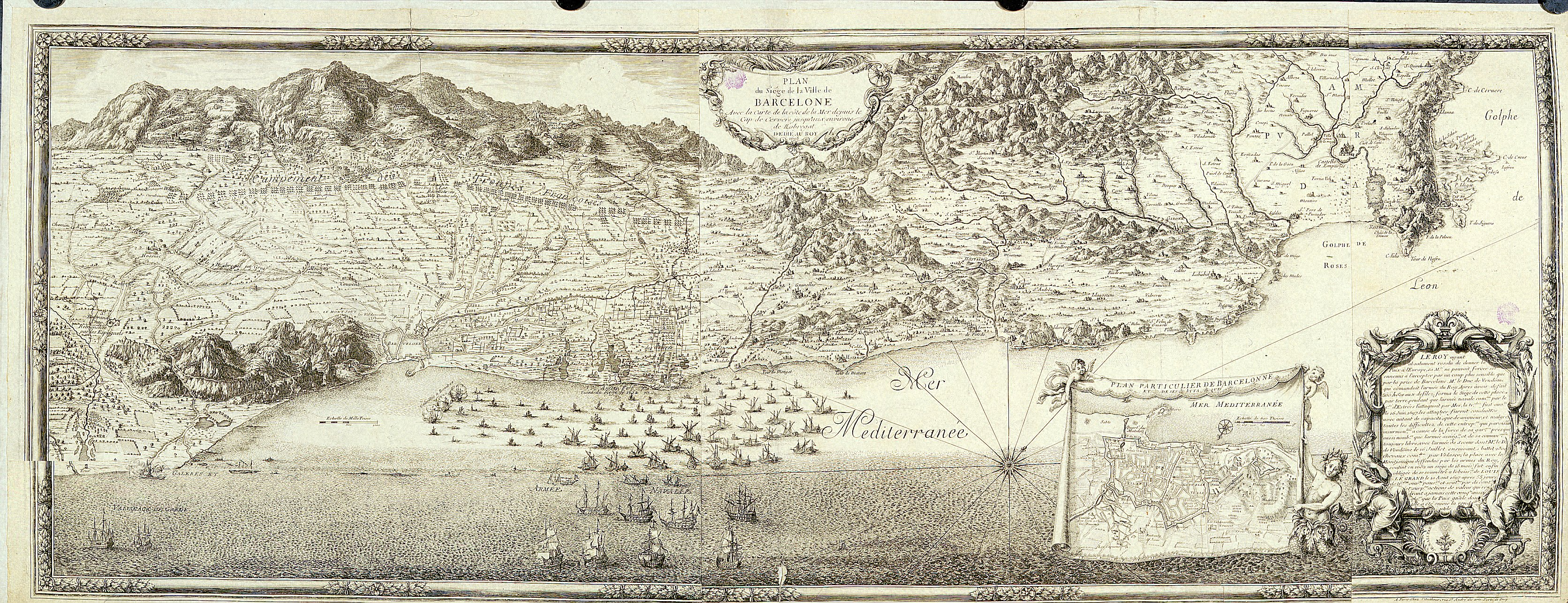 Plano francés de la ciudad de Barcelona 1698
