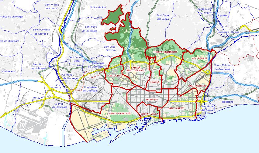 Distritos De Barcelona Mapa.Mapa De Barcelona Mapa Owje Com