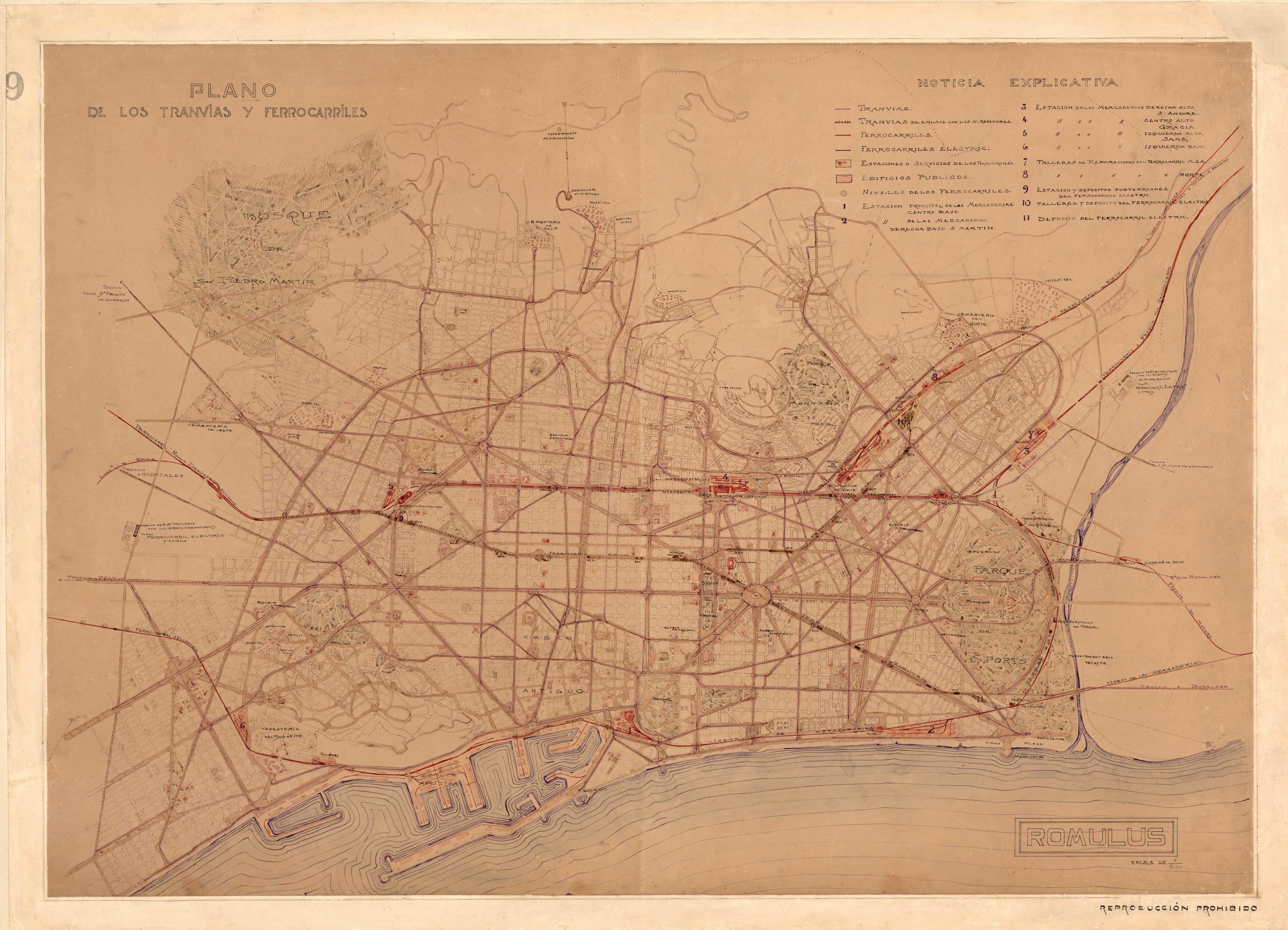 Plano de los tranvías y ferrocarriles de Barcelona 1905