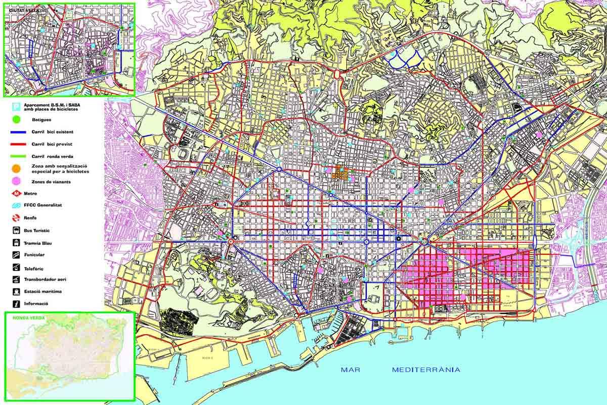 Red de carriles de bicicletas en Barcelona