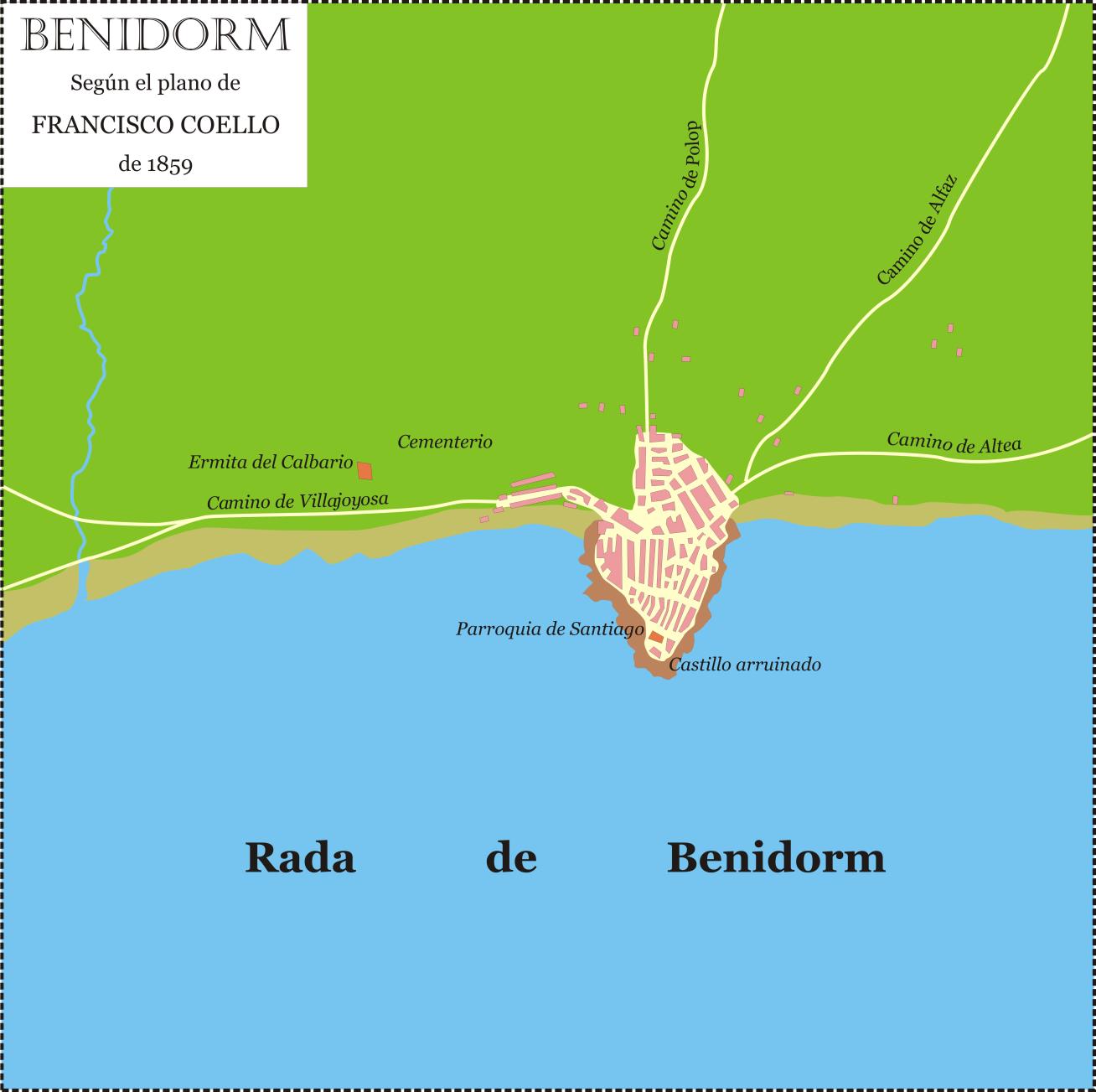 Plano de Benidorm basado en el de Francisco Coello de 1859