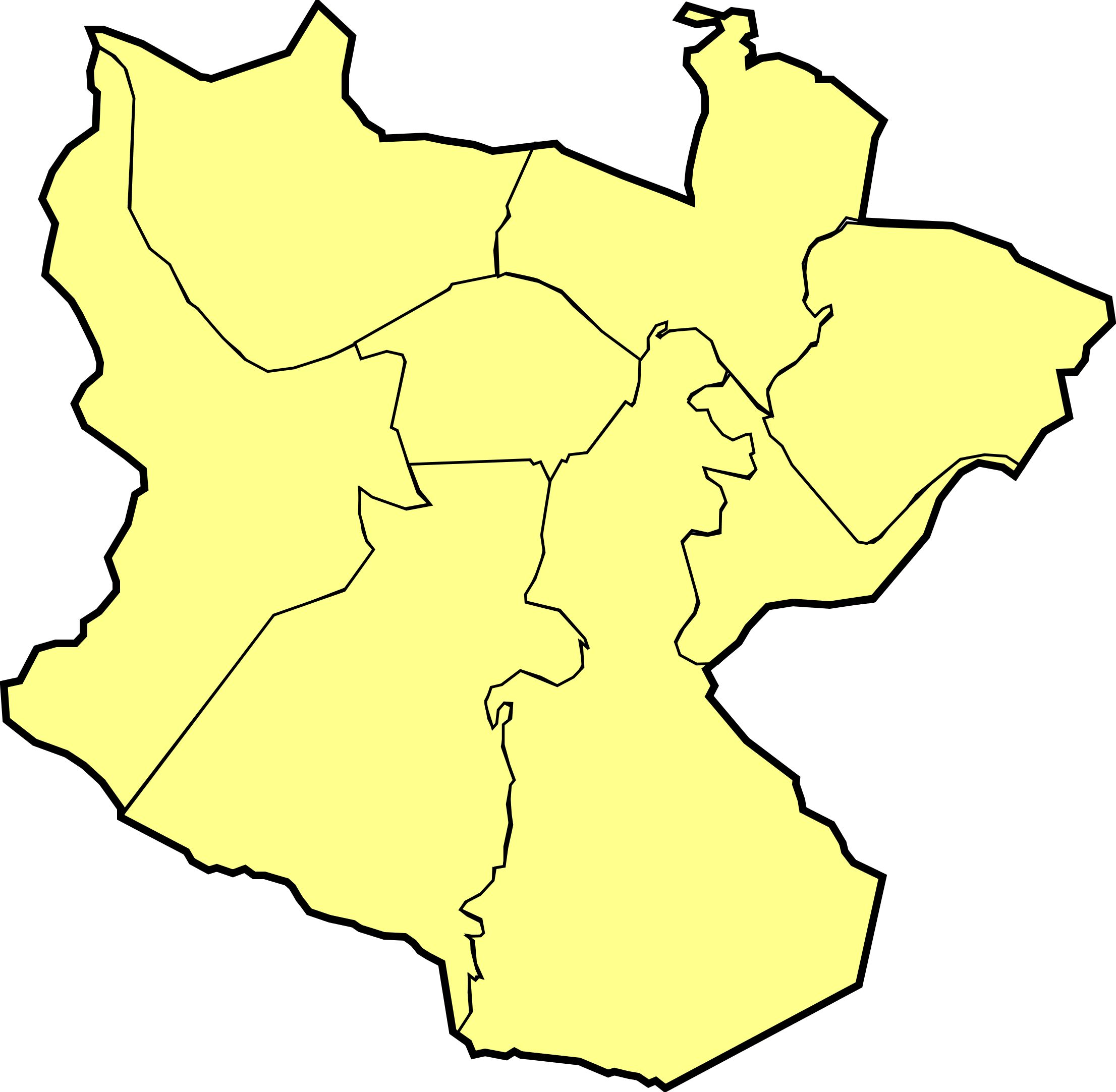 Blank map of Bilbao's districts 2008