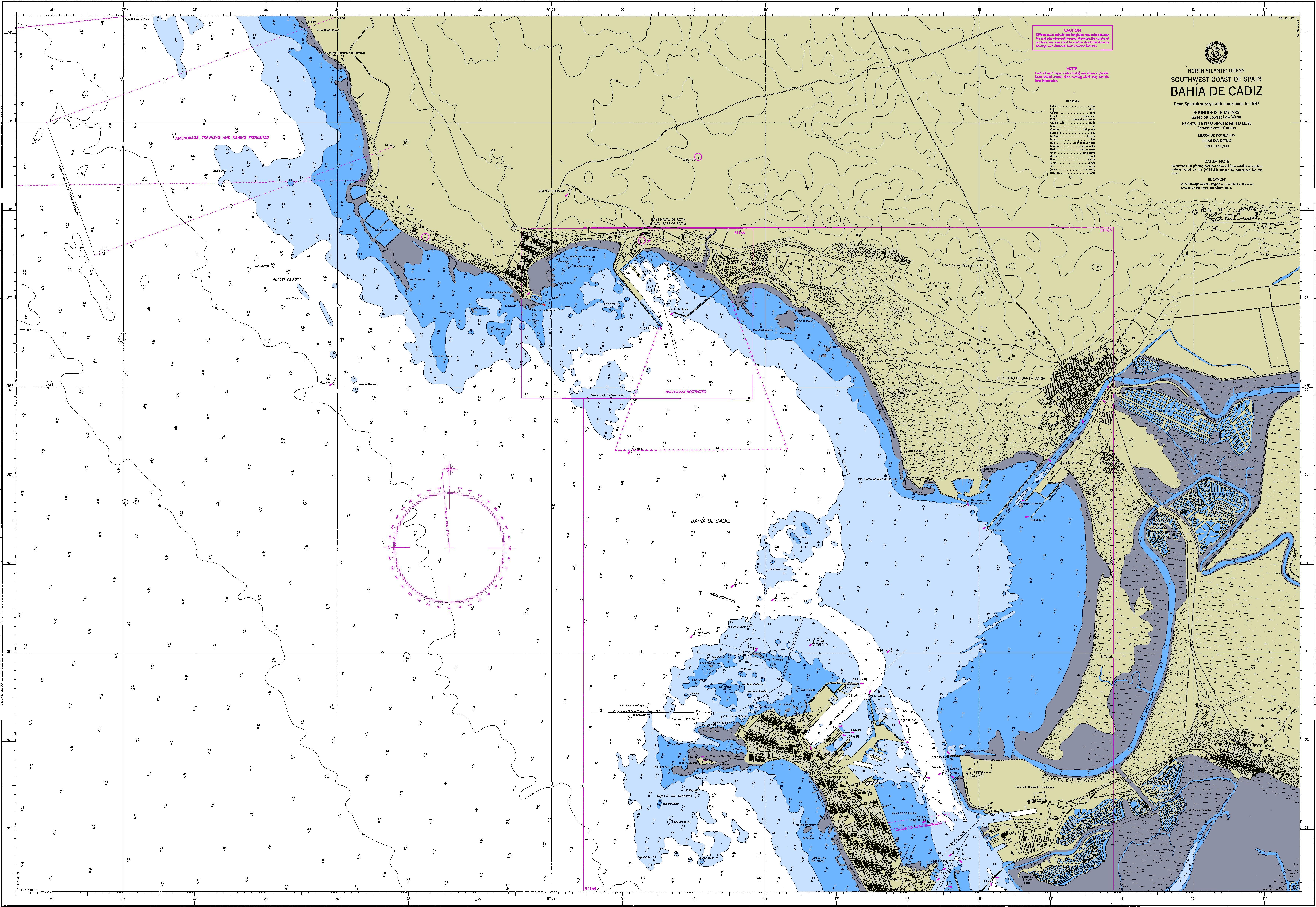 Carta náutica de la Bahía de Cádiz 1987