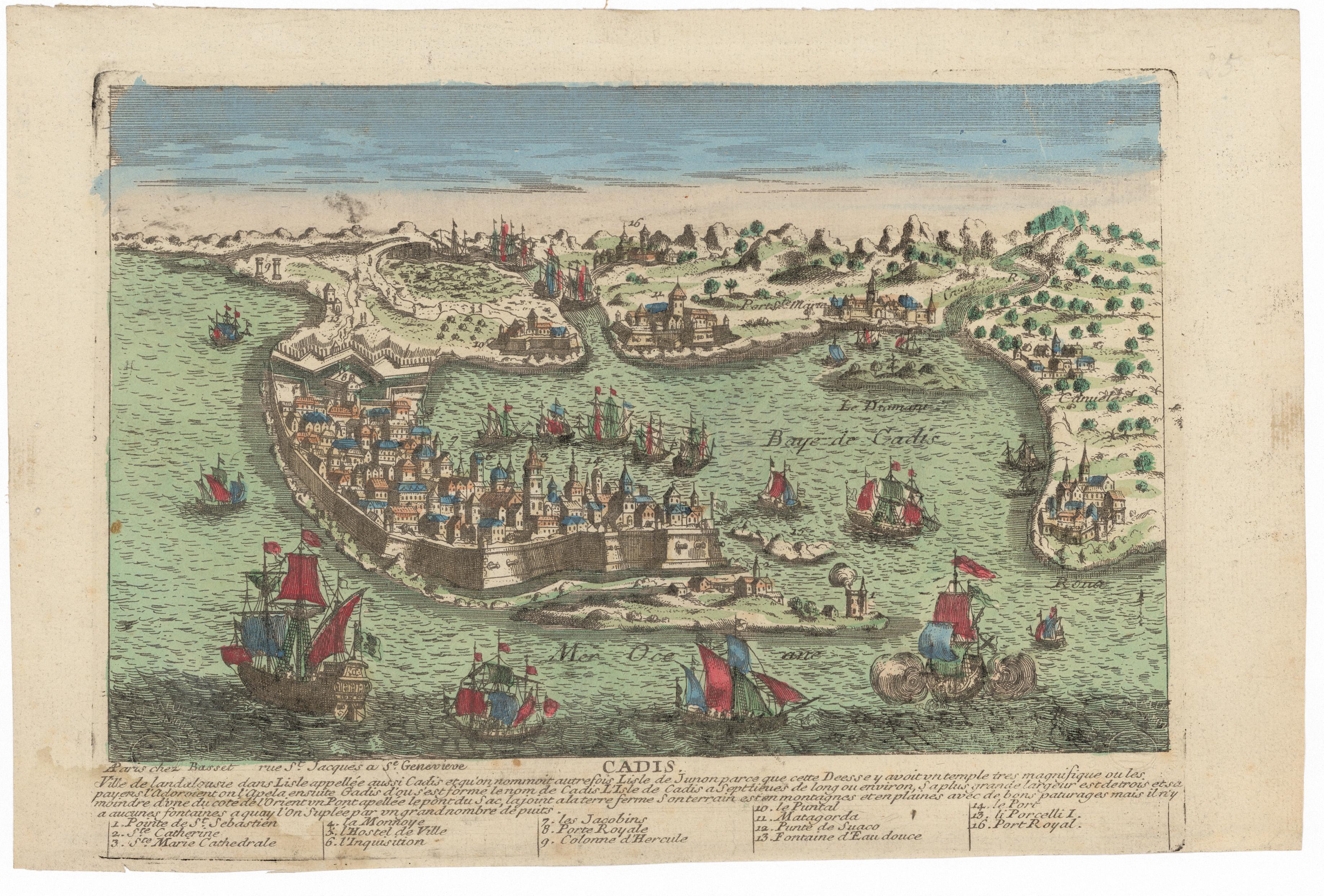 Plano de la Bahía de Cádiz en 1700