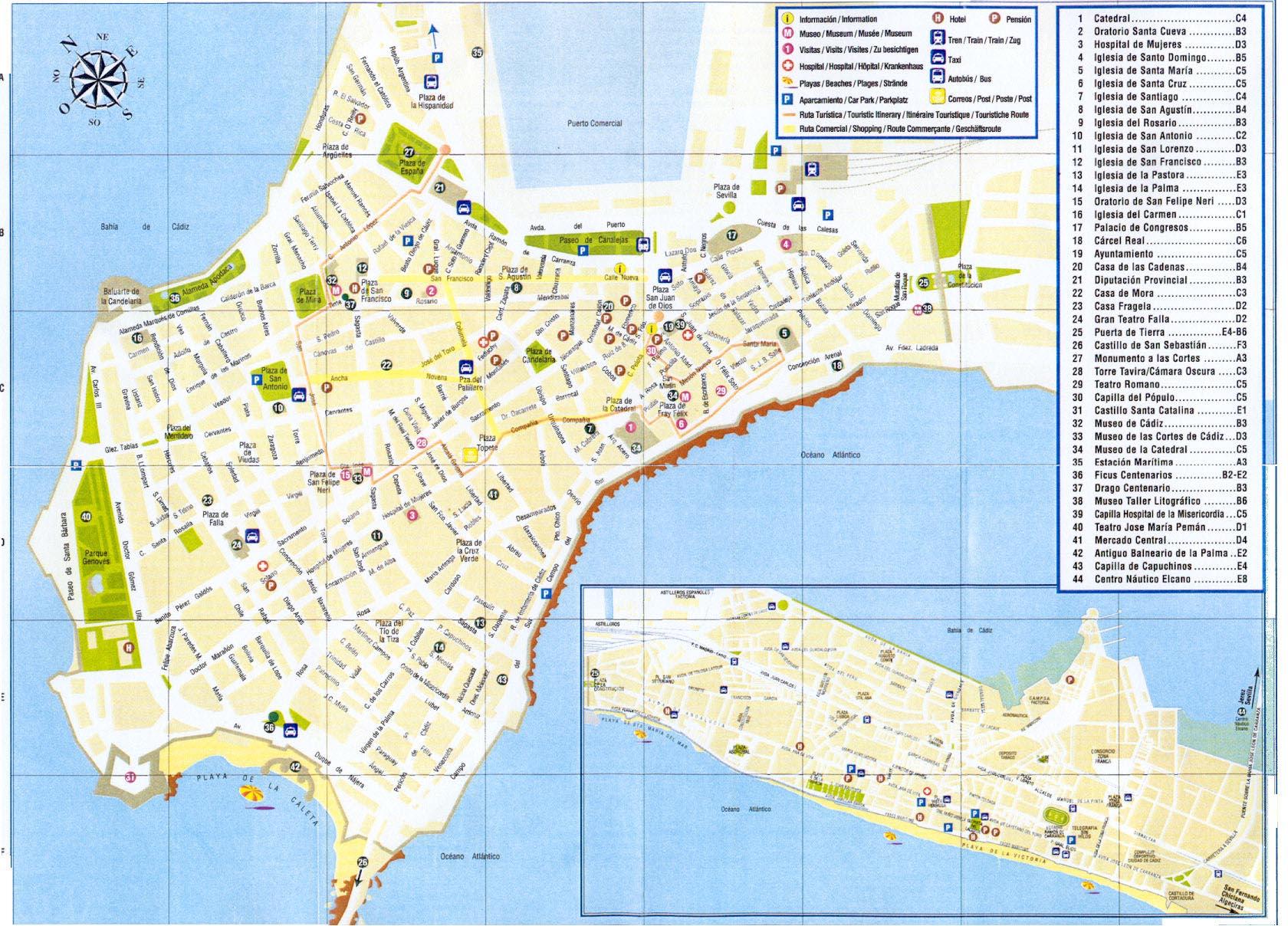 Mapa turístico de la ciudad de Cádiz