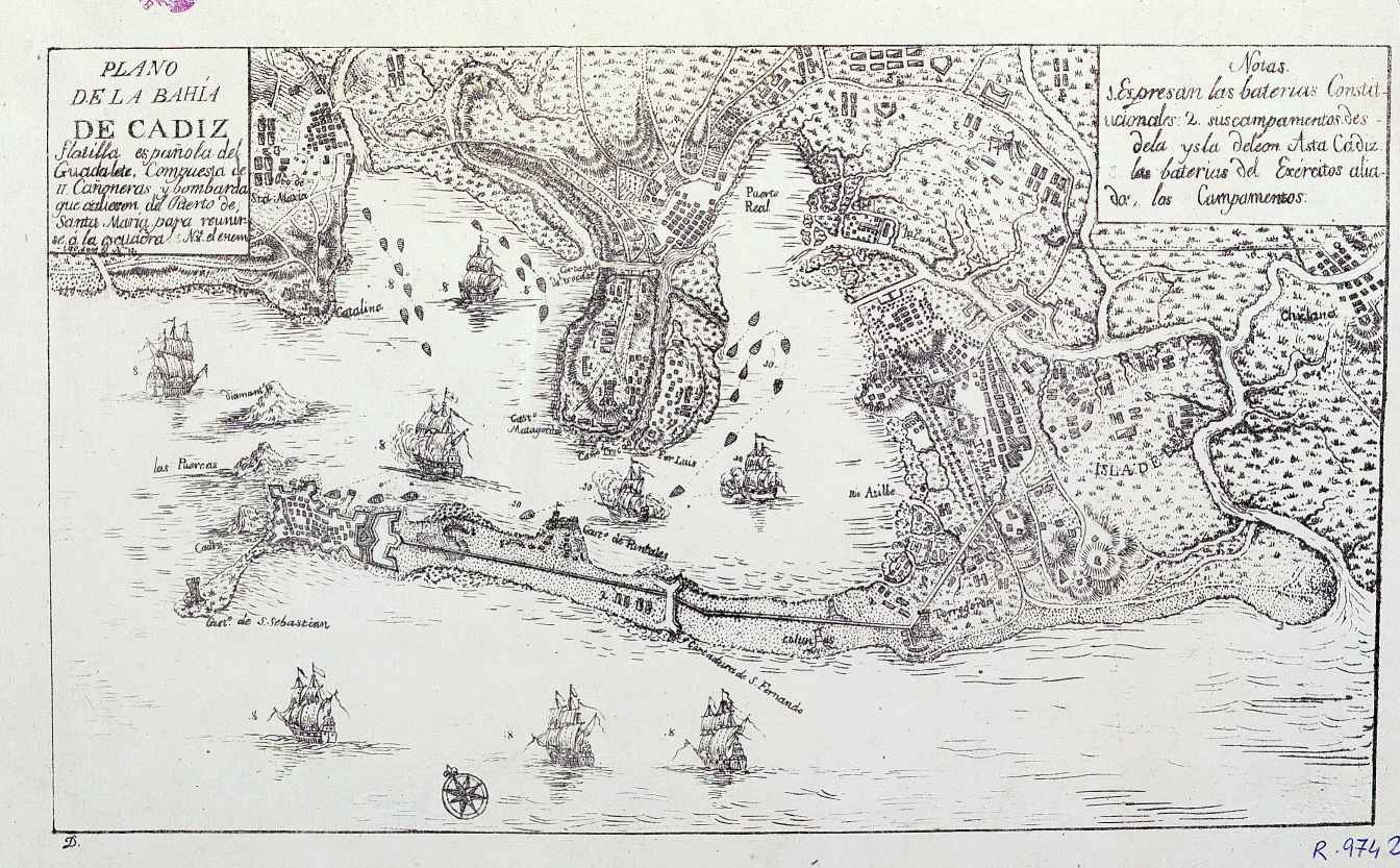Plano de la Bahía de Cadiz 1823