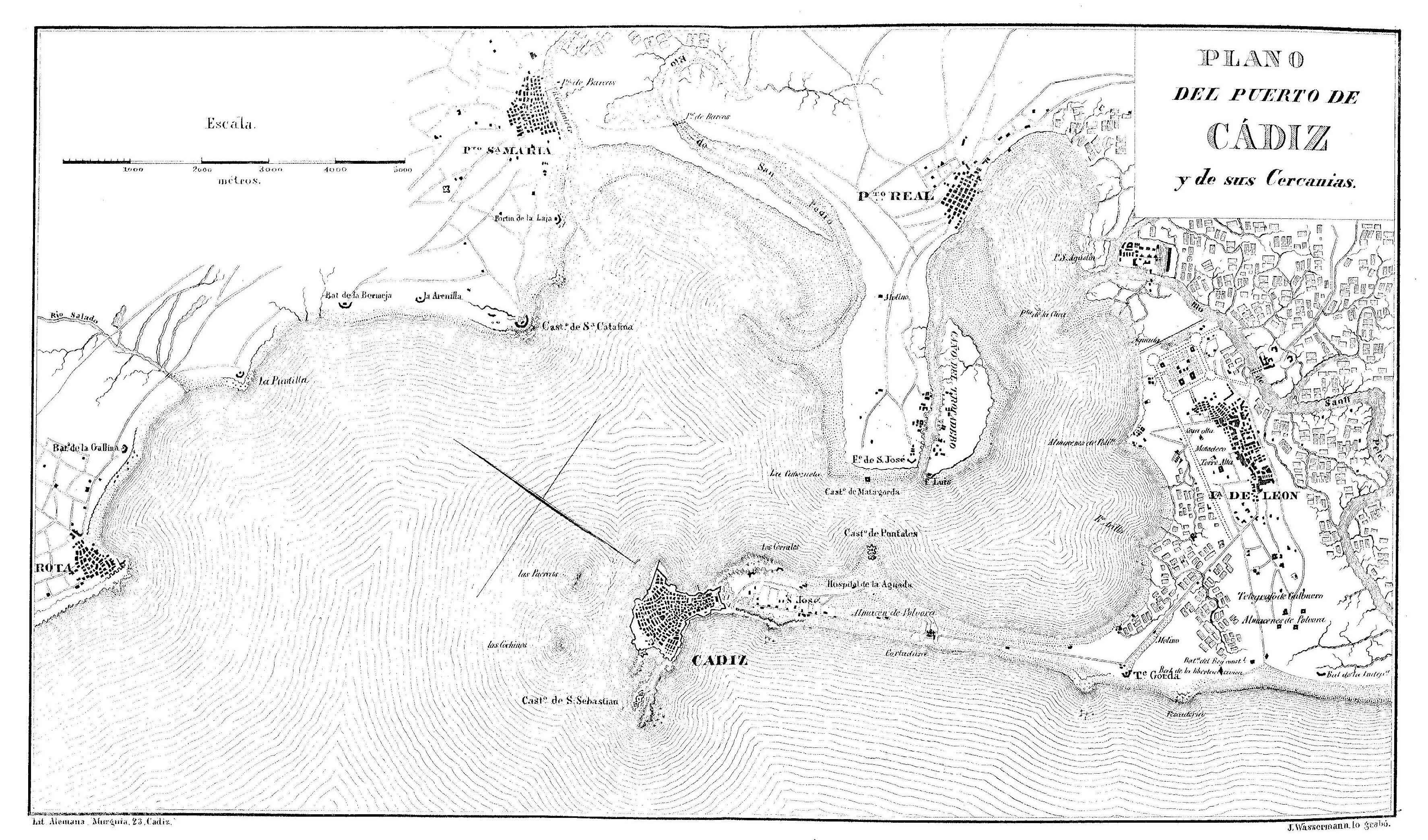 Puerto de la ciudad de Cádiz 1812