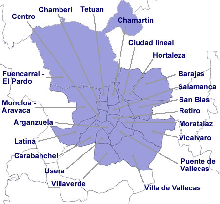 Mapa Madrid capital por distritos