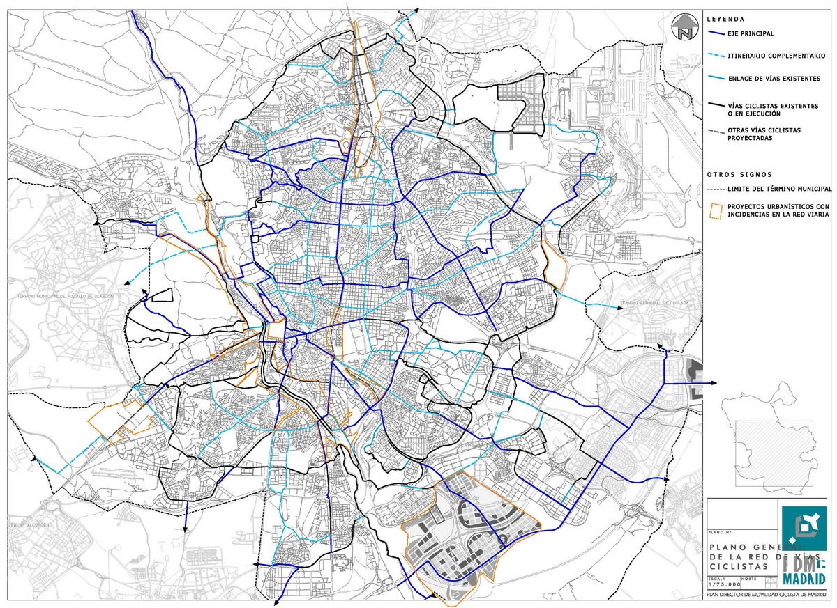 Madrid cycle routes network