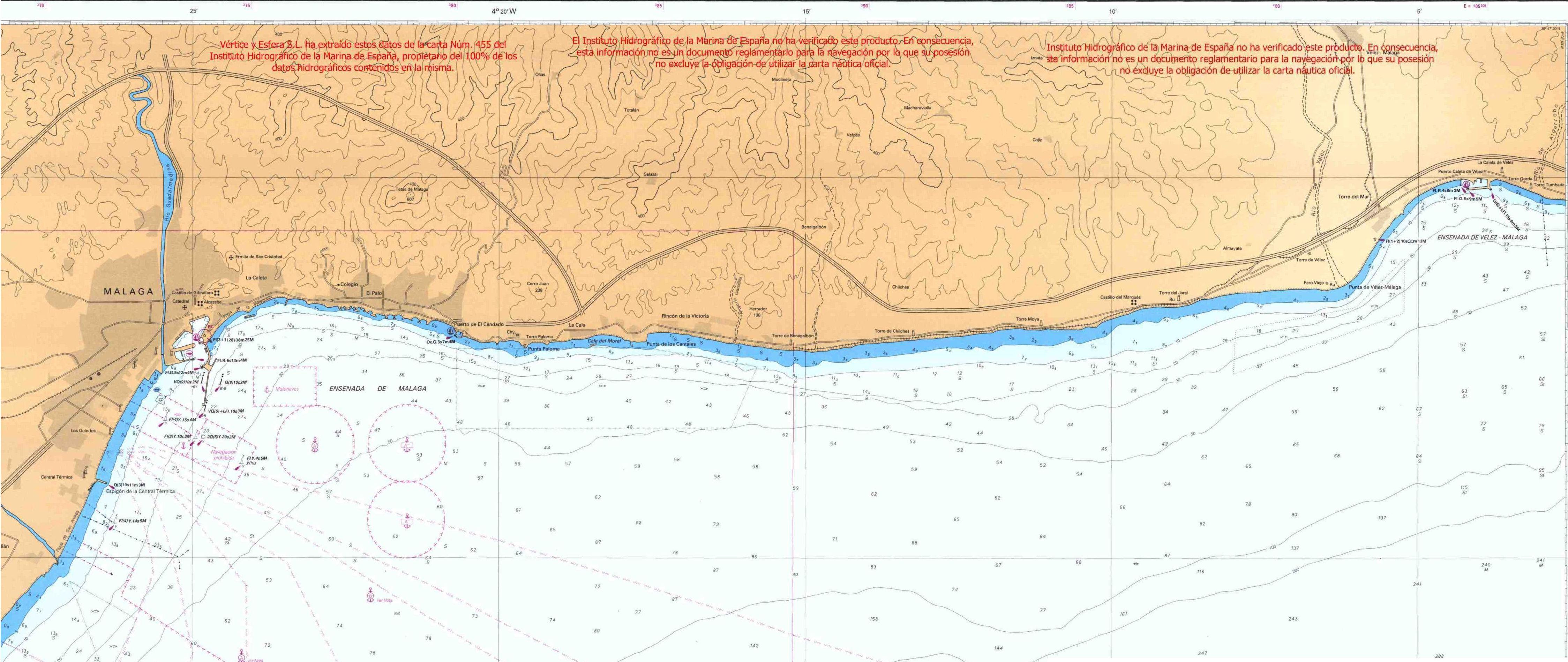 Carta náutica de la costa entre Málaga y Caleta de Vélez