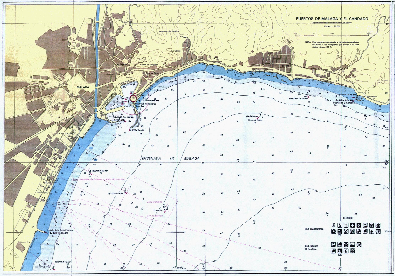 Carta náutica de los puertos de Málaga y El Candado
