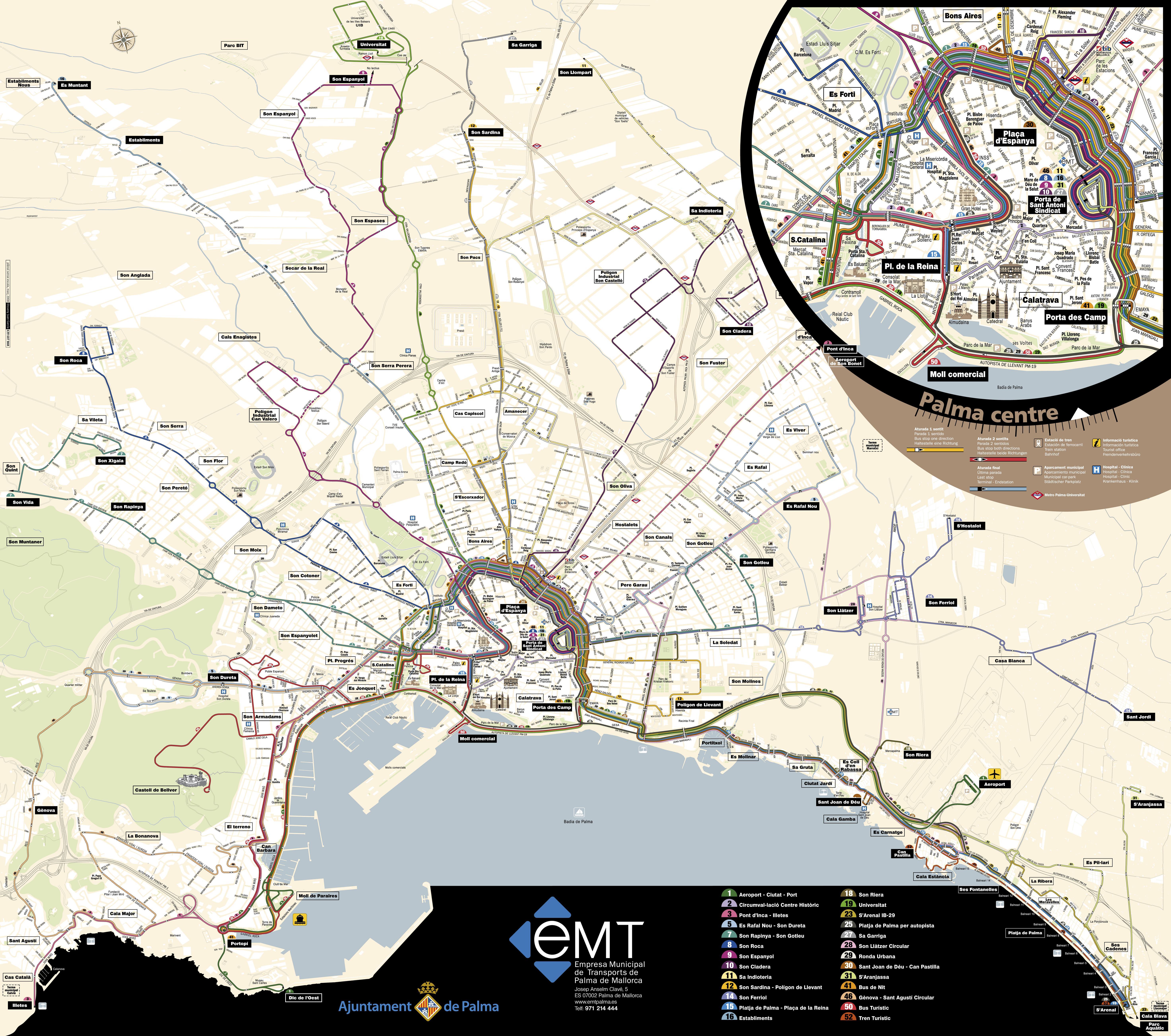 Palma de Mallorca bus routes map 2008