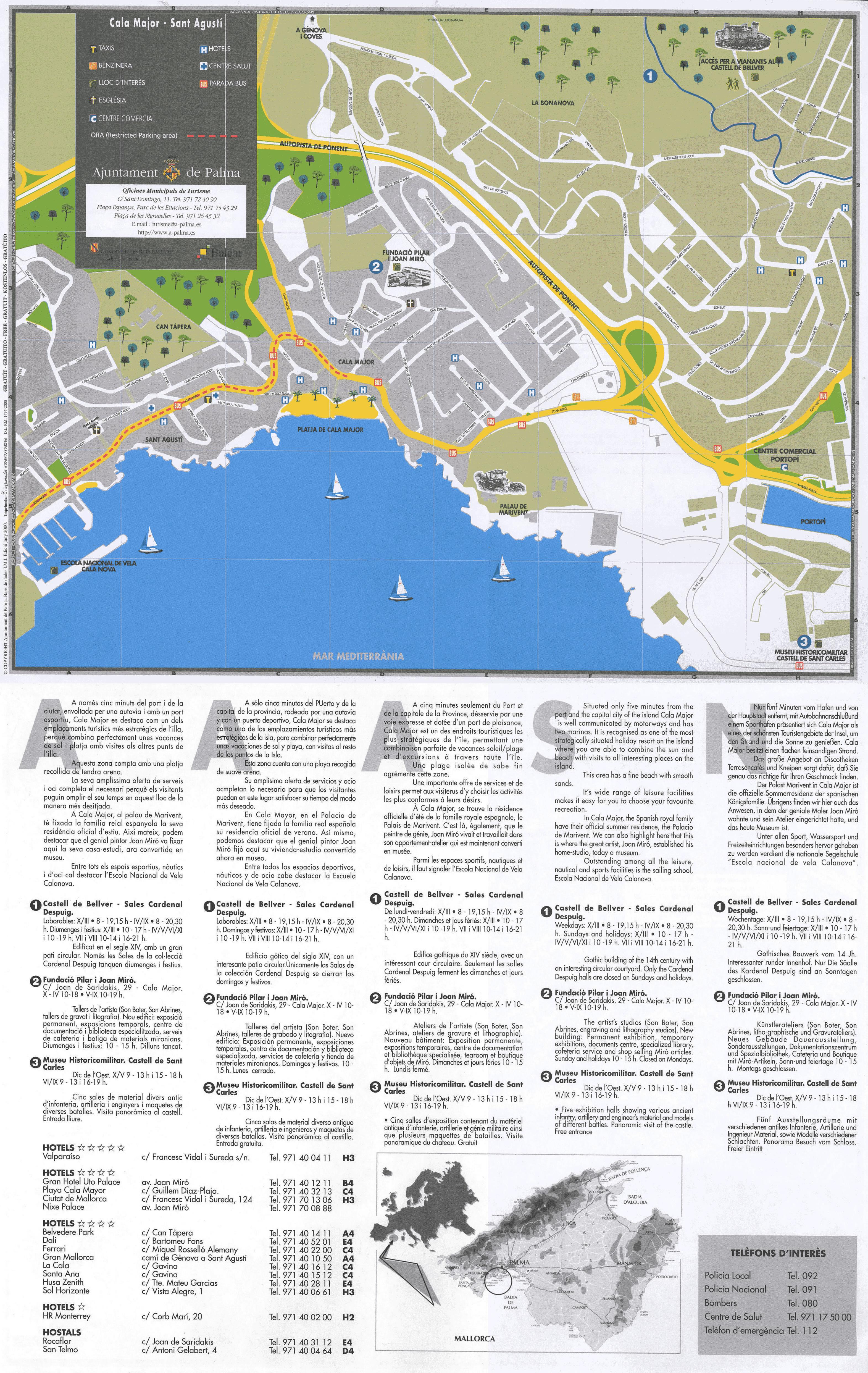 Mapa de los barrios de Cala Major y San Agustín 2000