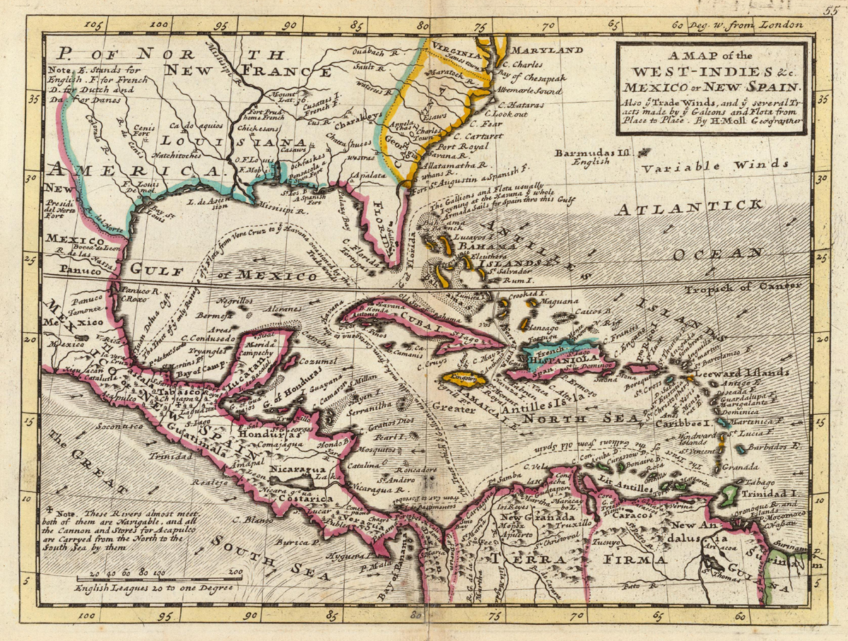 Mapa de las Indias Occidentales, México o Nueva España 1736