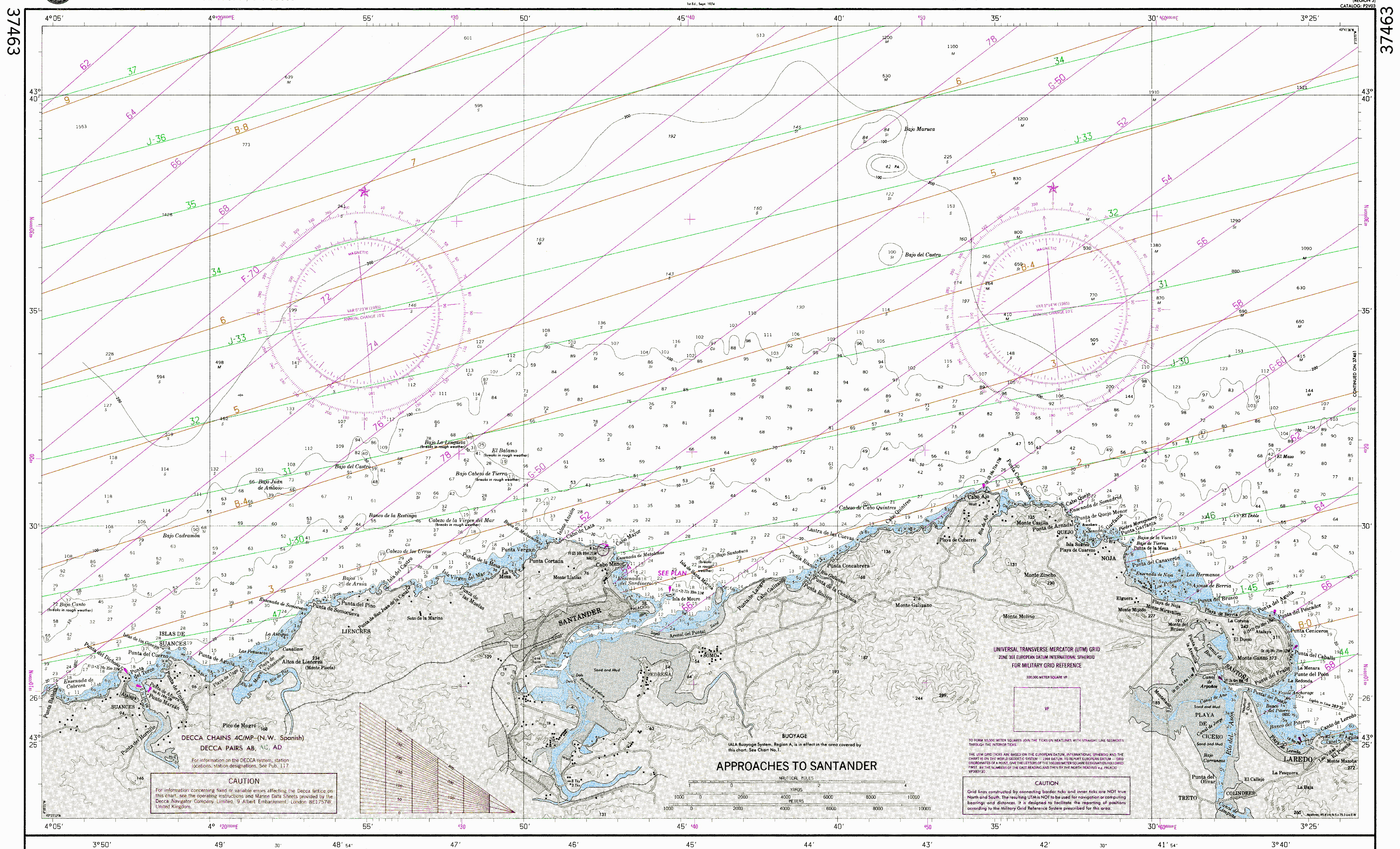 Nautical chart of the approaches to Santander