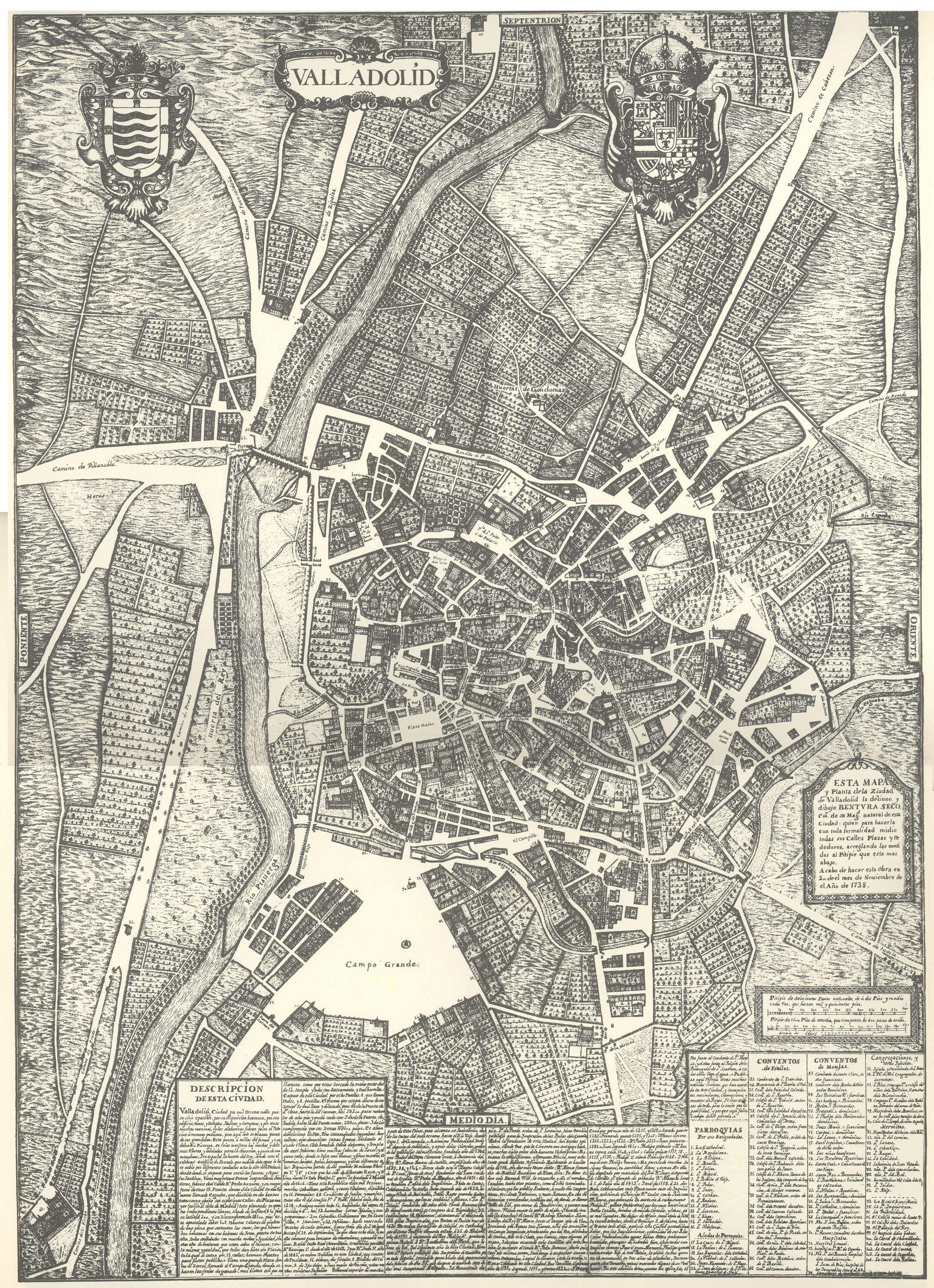 Plano de Valladolid en 1738