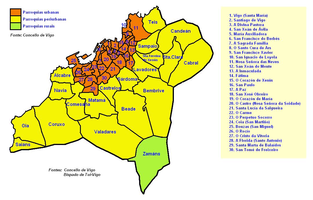 Districts (Parroquias) of Vigo 2008
