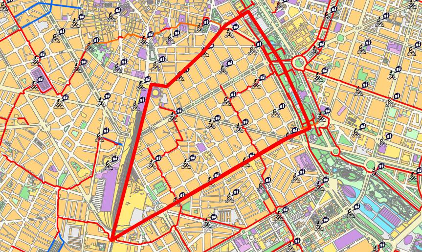 The Eixample district map