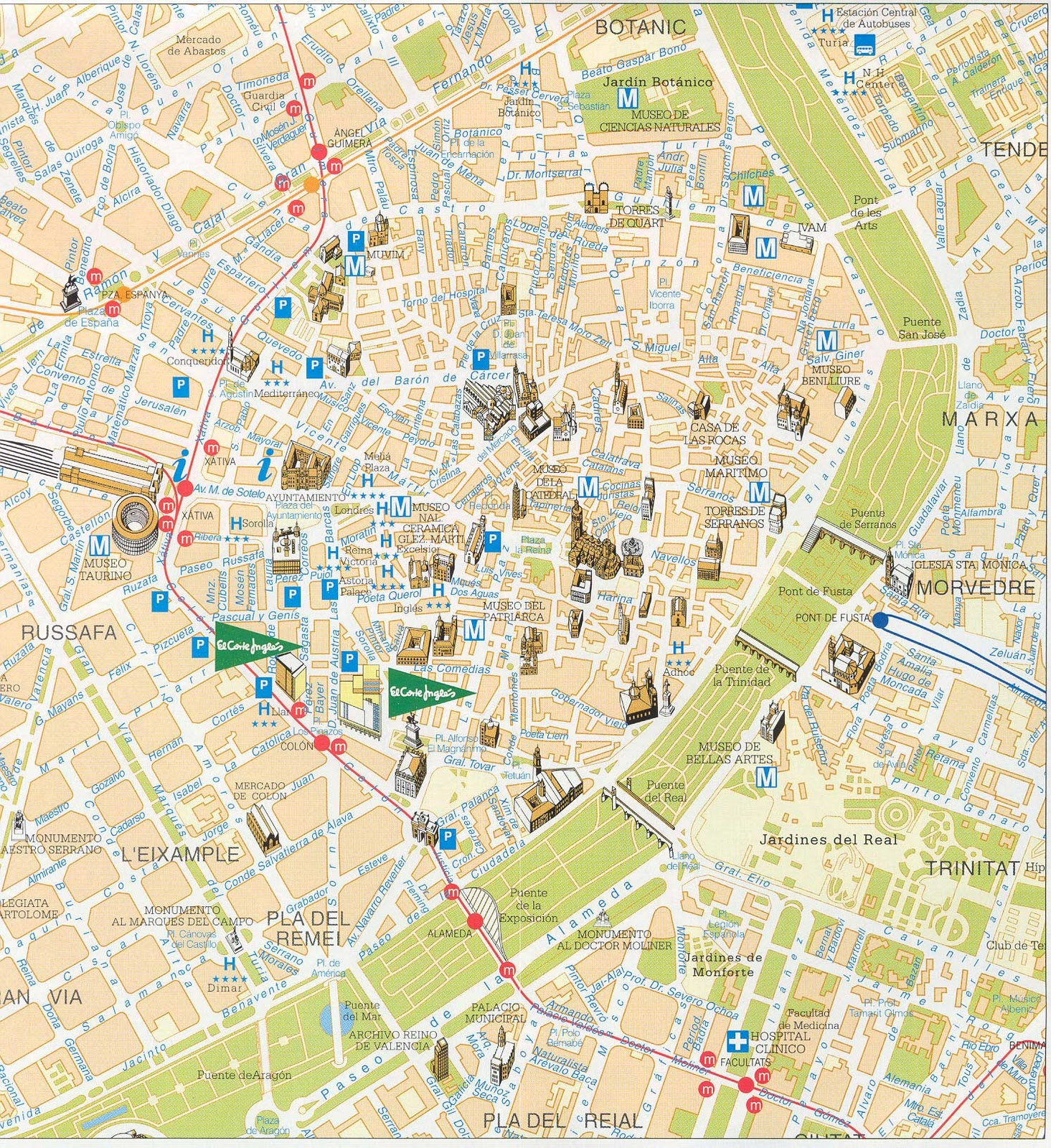 Mapa del centro de Valencia