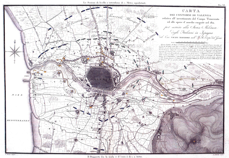 Carta de los contornos de Valencia 1823