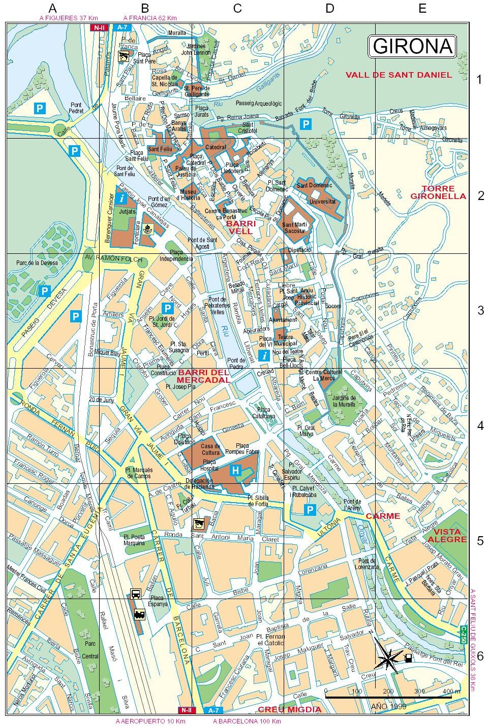 Mapa del centro de Gerona 1999