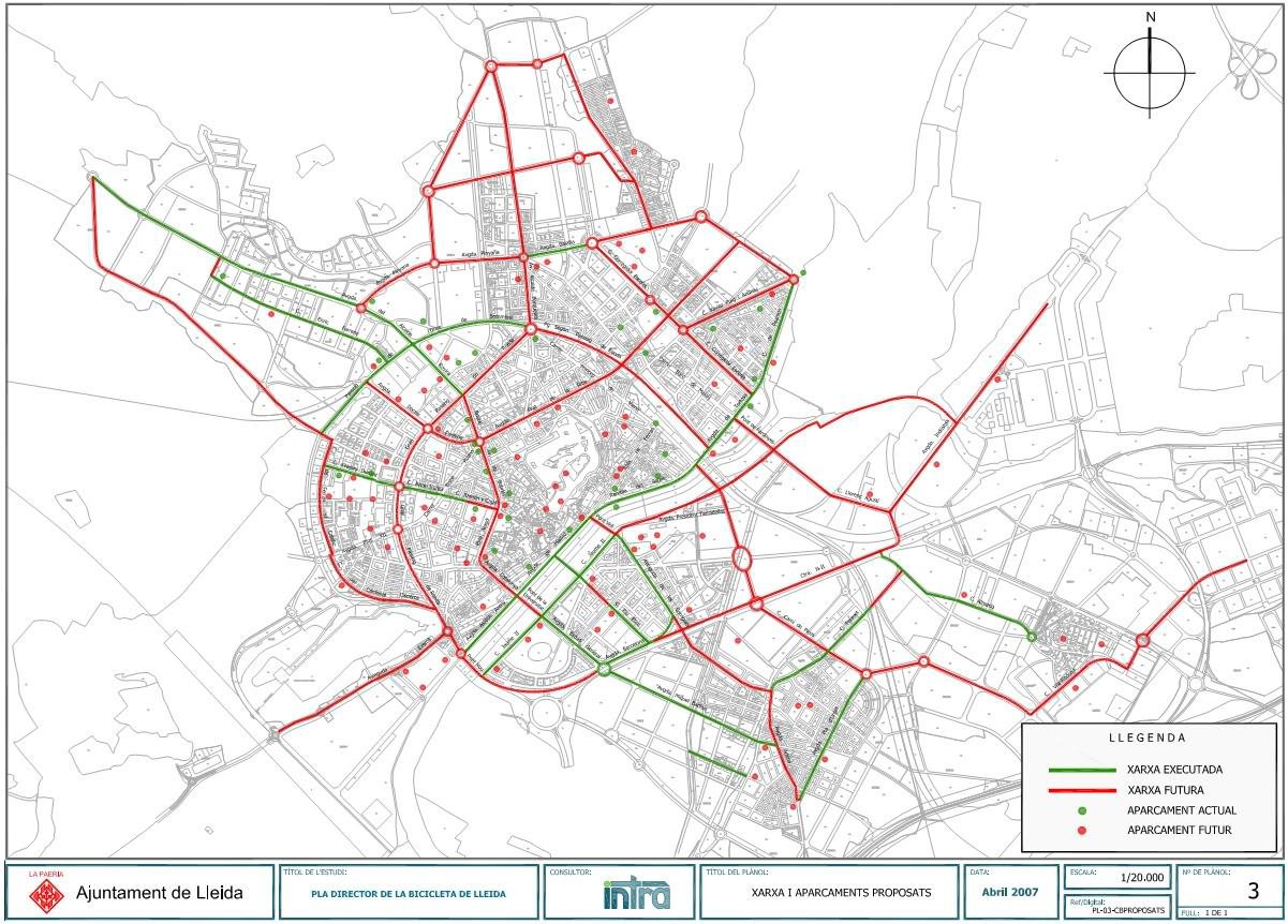 Bike routes, paths & parking in Lleida 2007