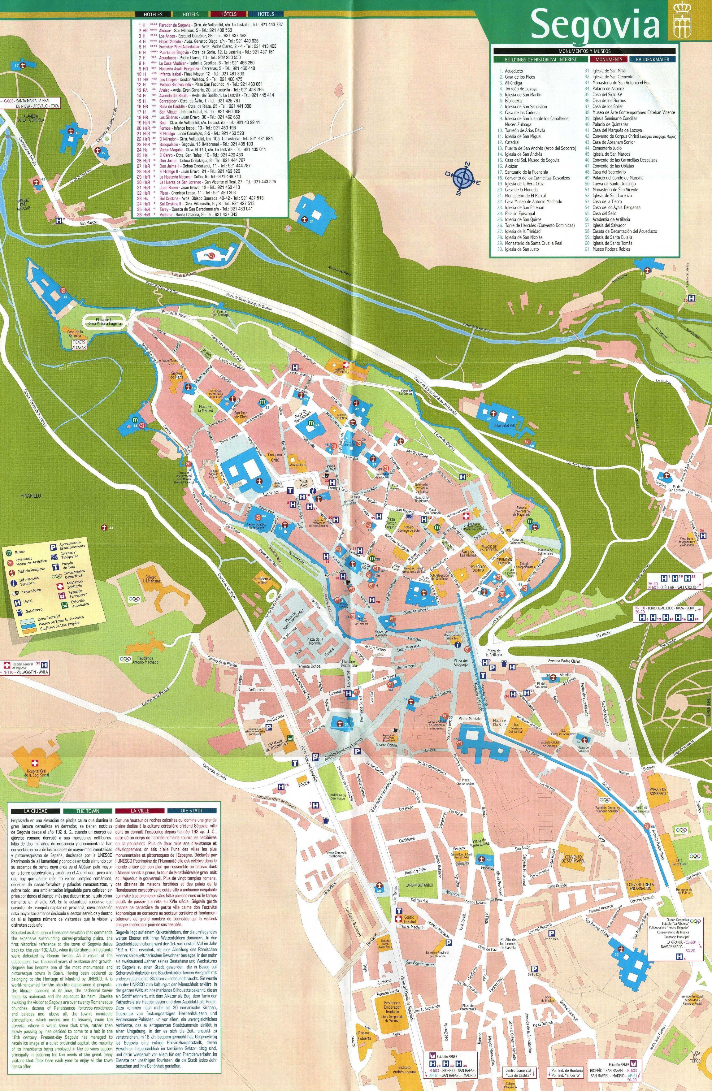 Mapa turístico de Segovia