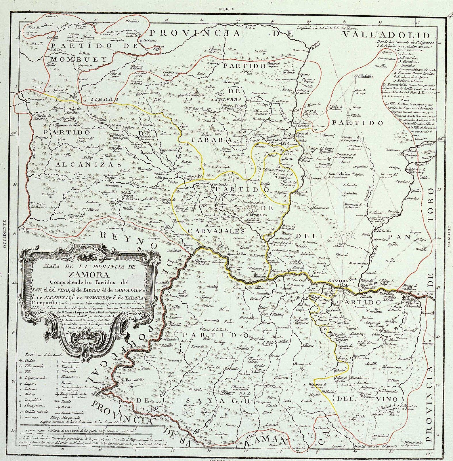 Mapa de la Provincia de Zamora 1773