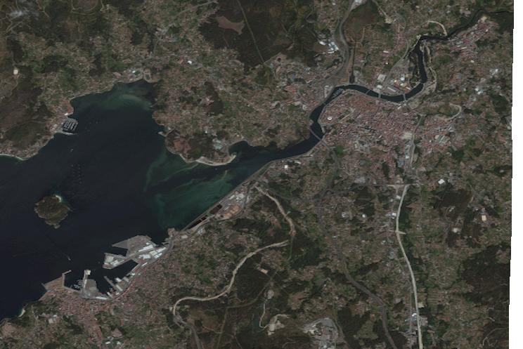 Mapa satelital de Pontevedra