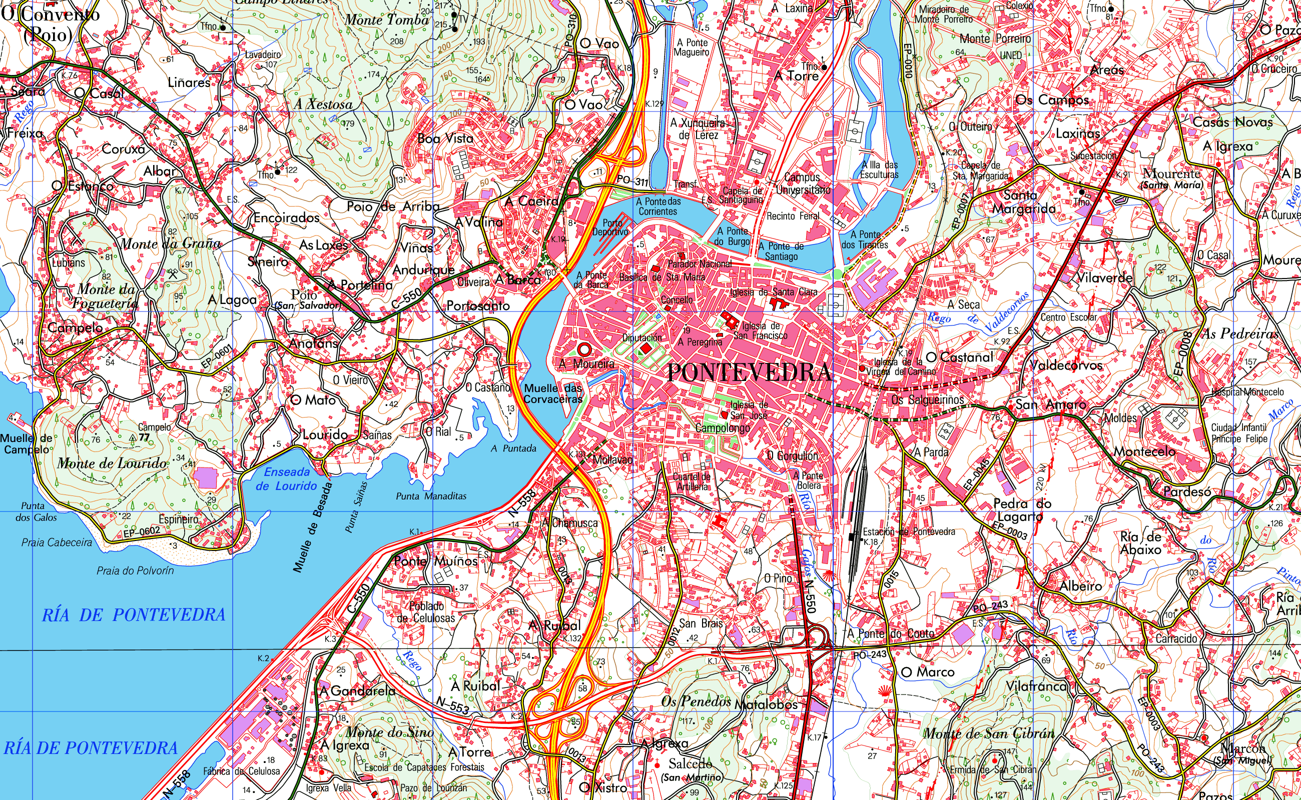 Pontevedra map