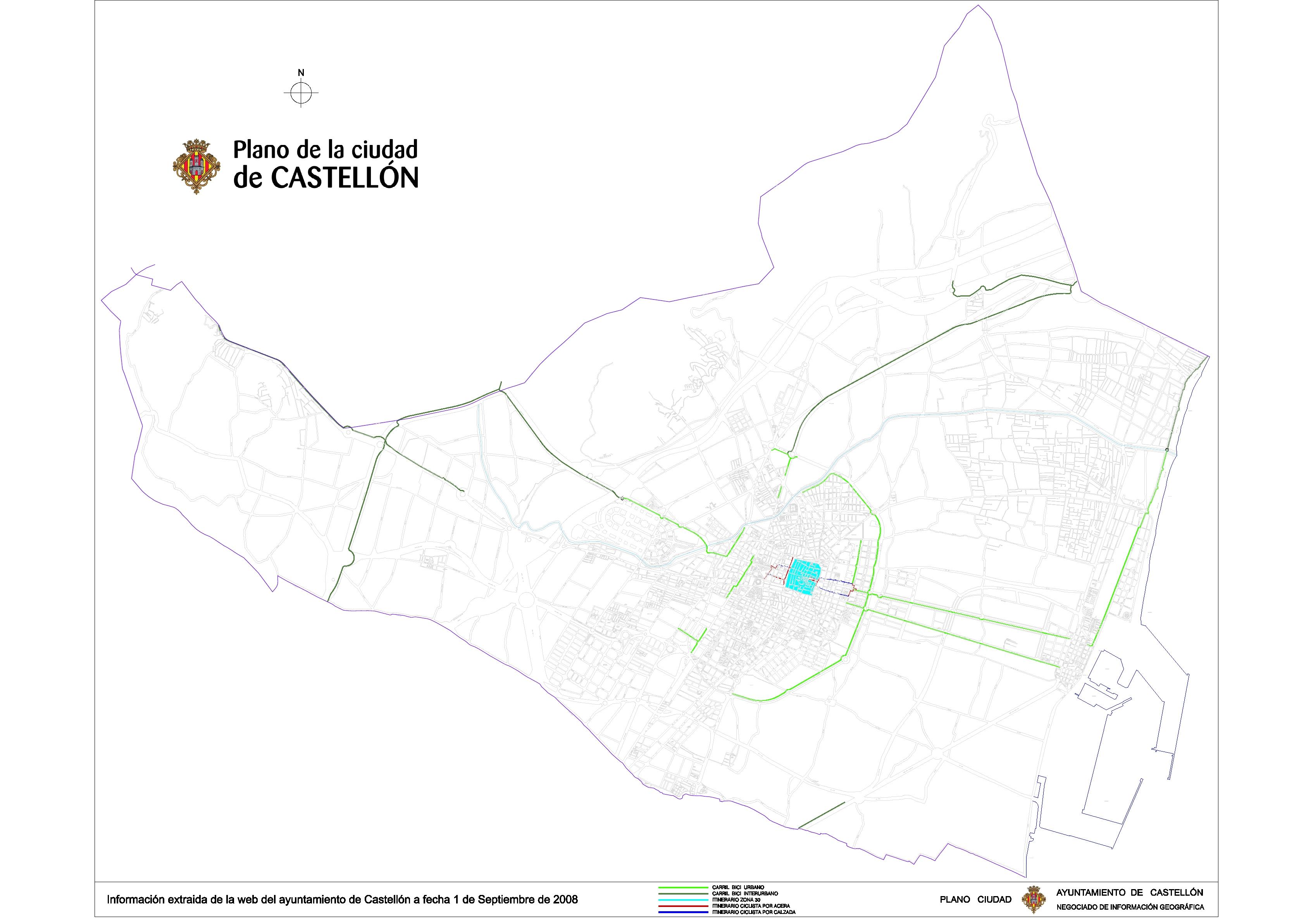 Red de carriles de bicicletas en Castellón 2008