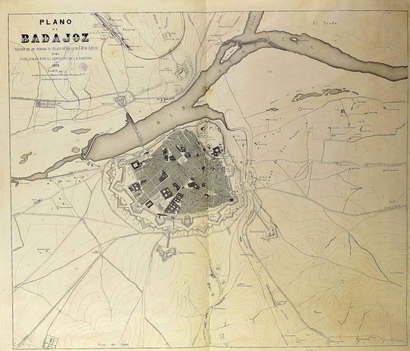 Plano de Badajoz en 1873