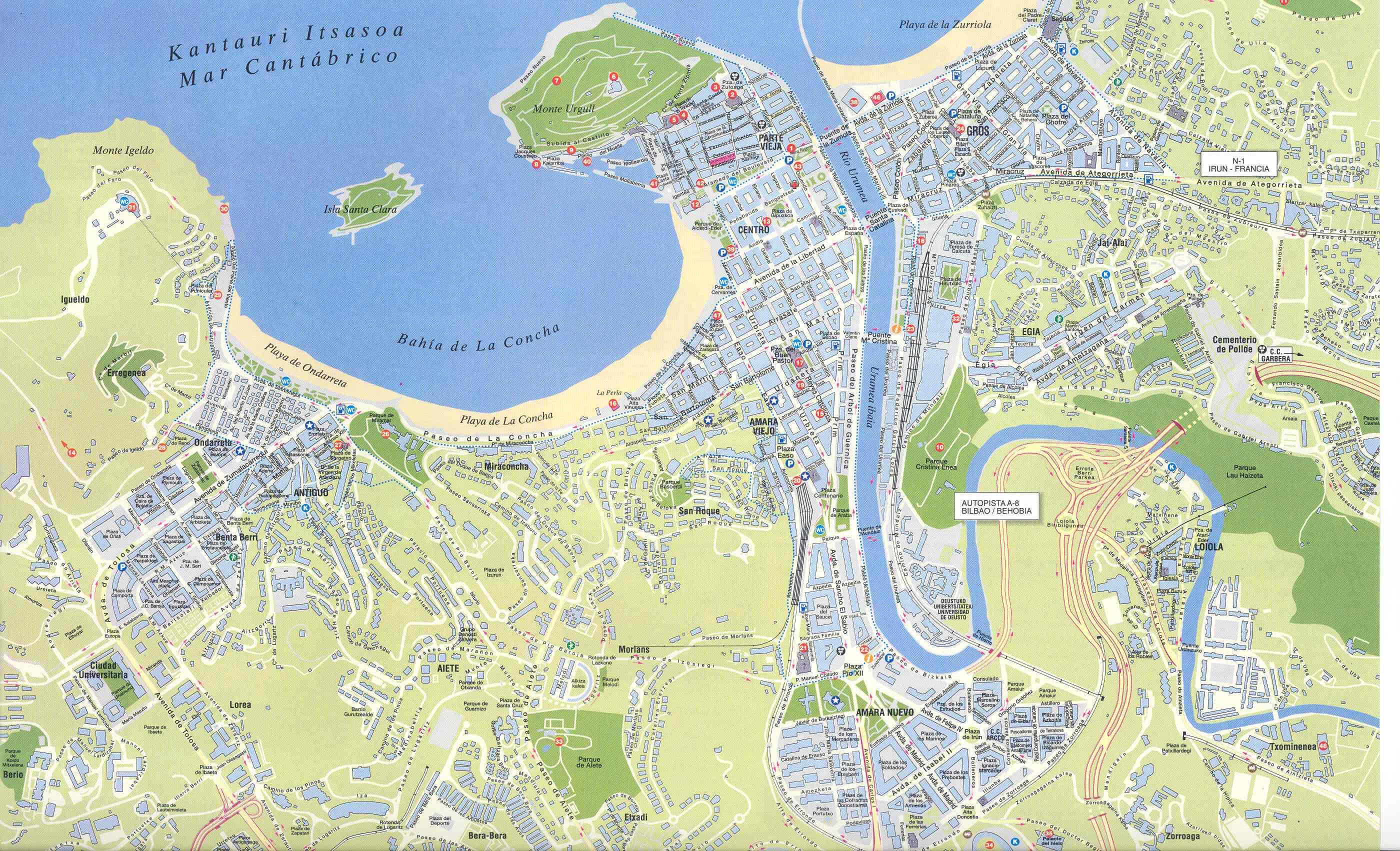 Mapa de San Sebastián 2002