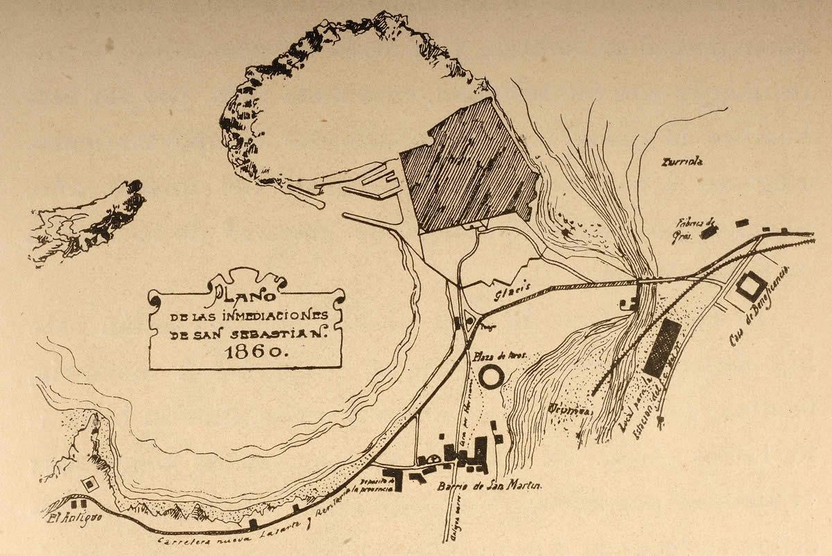 Map of Donostia-San Sebastián environs 1860