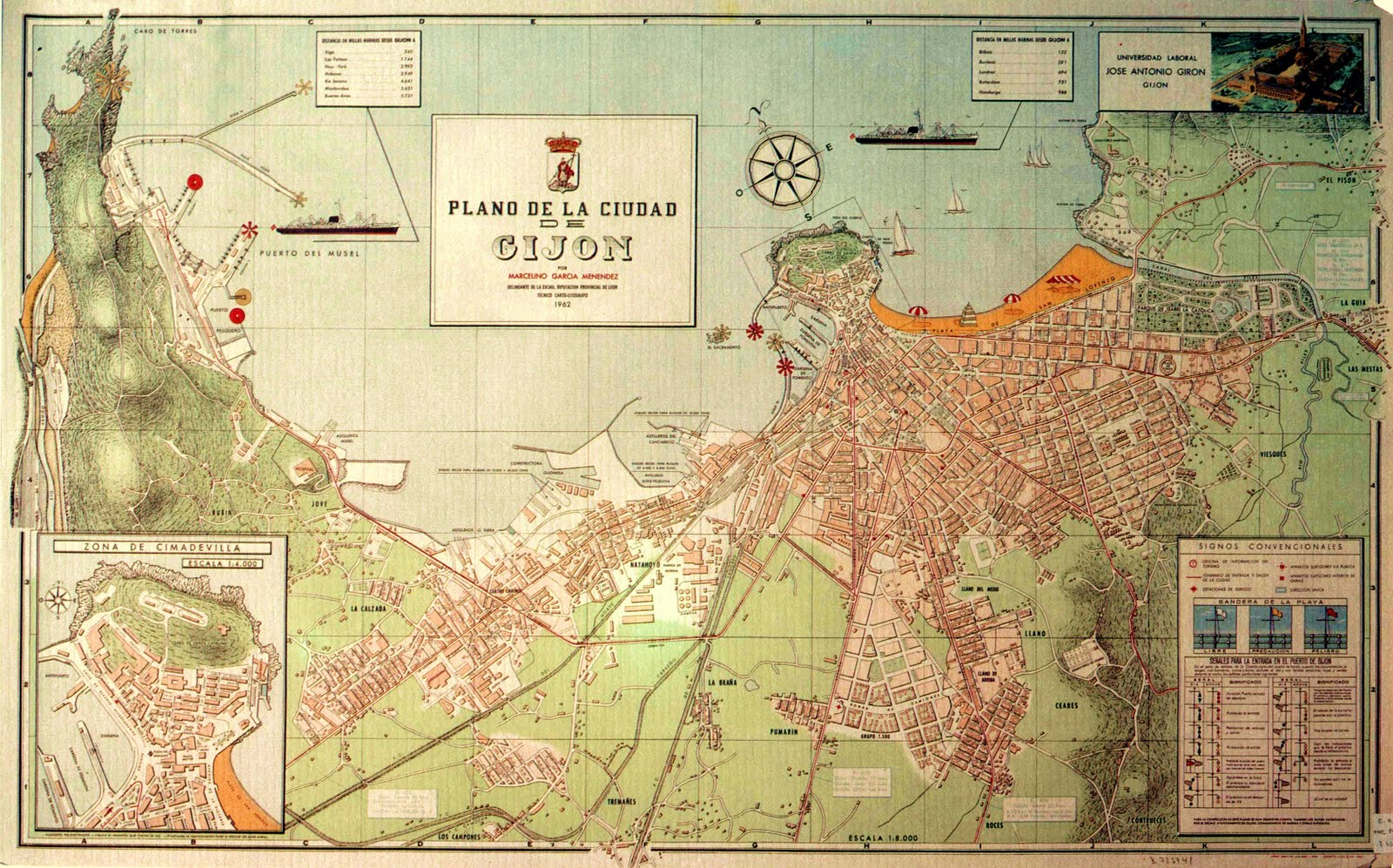 Map of the city of Gijón 1962