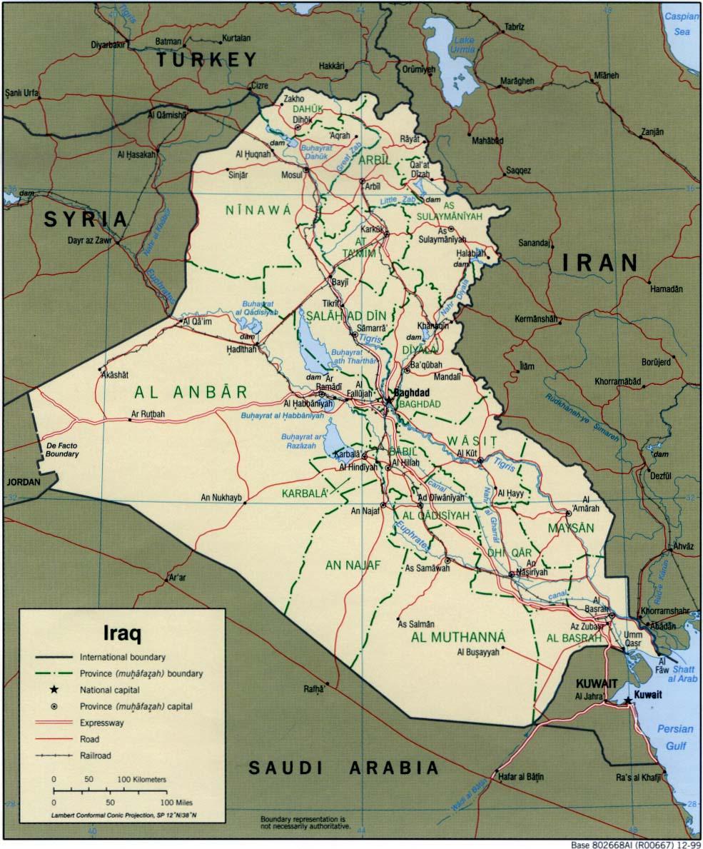 Mapa Político de Irak 1999