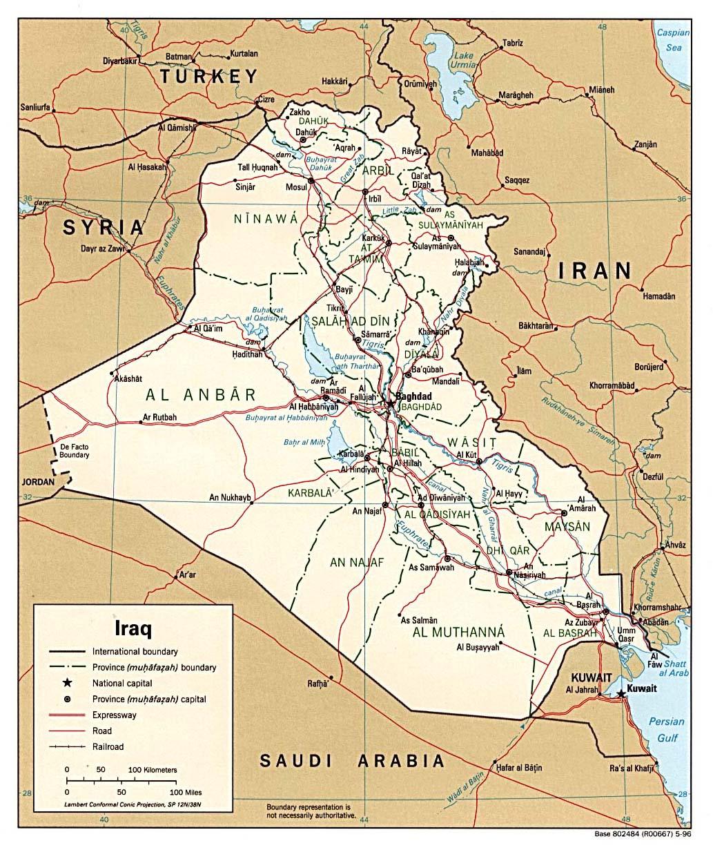 Mapa Político de Irak 1996