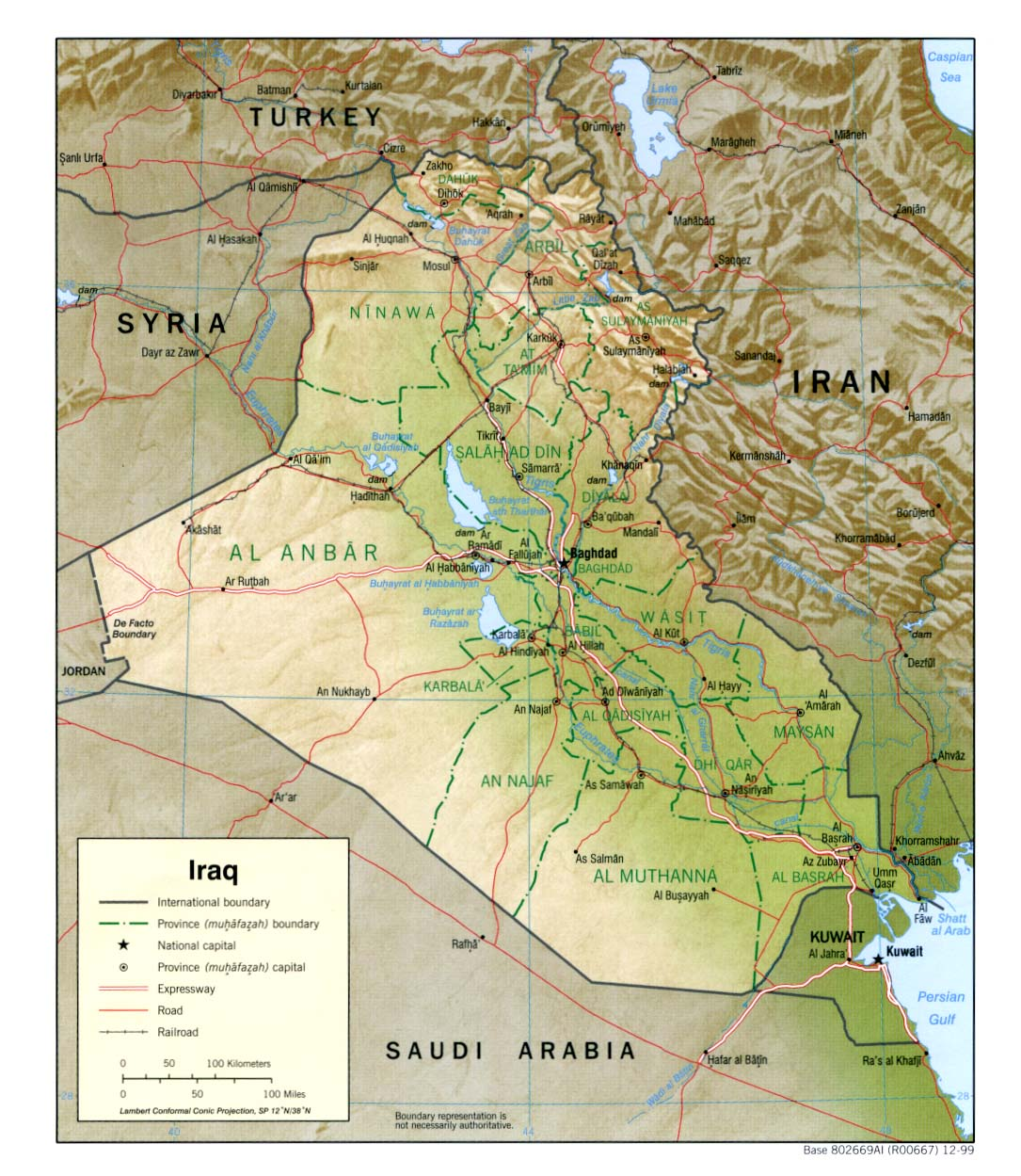 Iraq Physical Map 1999