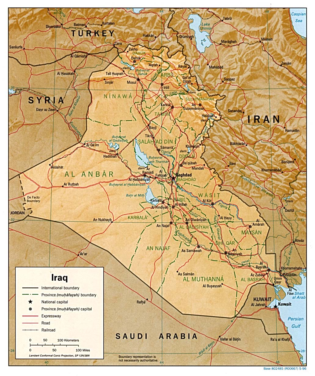 Iraq Physical Map 1996