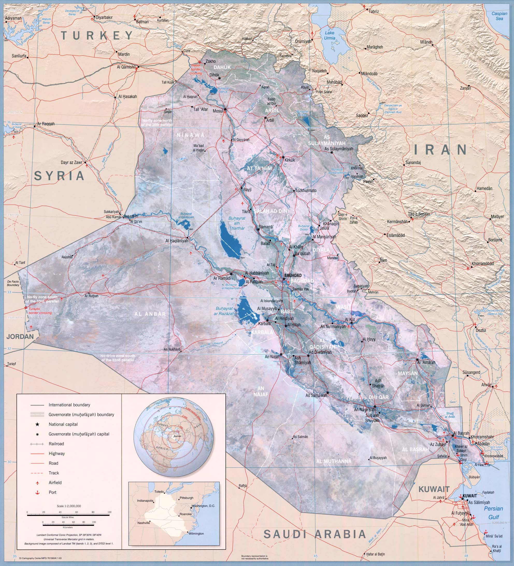 Mapa Físico de Irak 2003