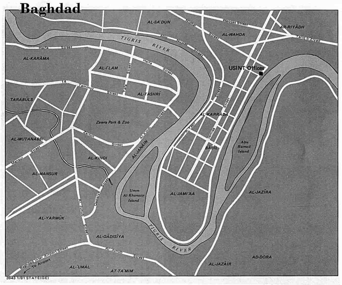 Mapa de Bagdad 1981