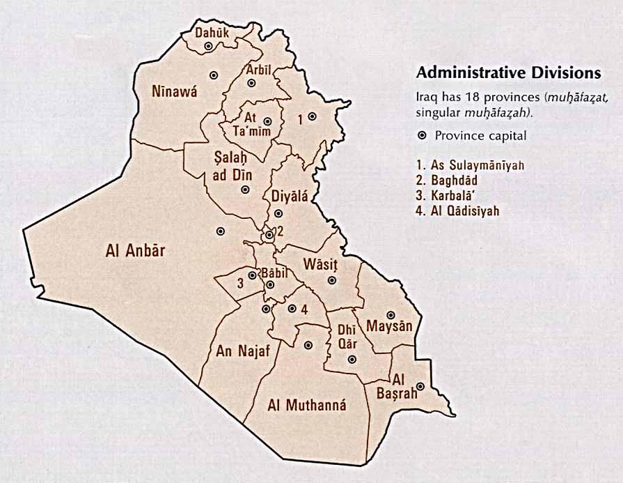 Divisiones administrativas de Irak 1993
