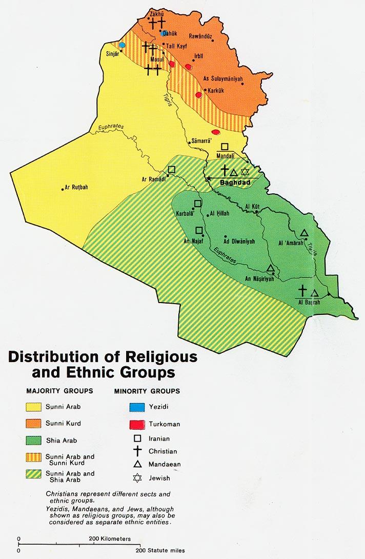 Grupos religiosos y étnicos en Irak 1978