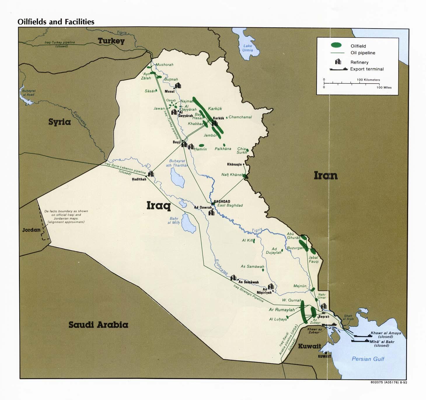Campos petroleros e instalaciones petroleras de Irak 1992
