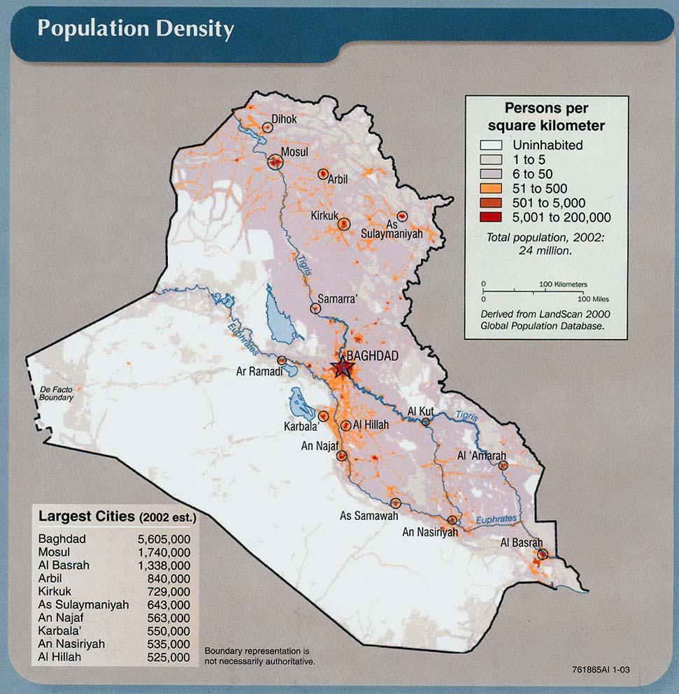 Densidad de población de Irak 2003